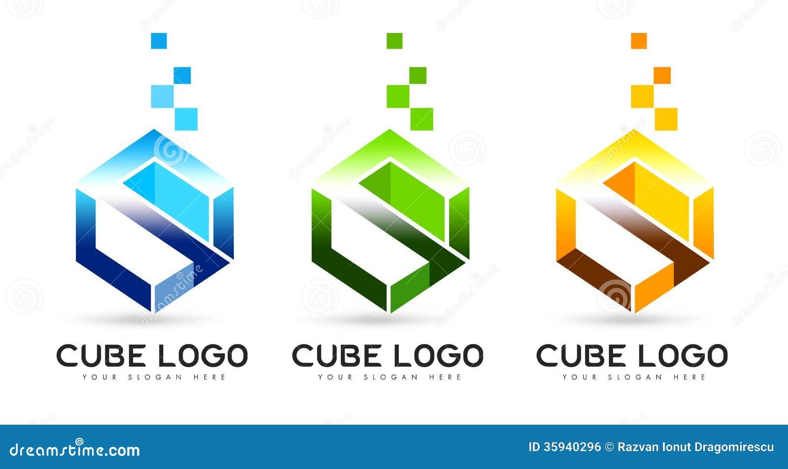 Logotipo del cubo de la letra S