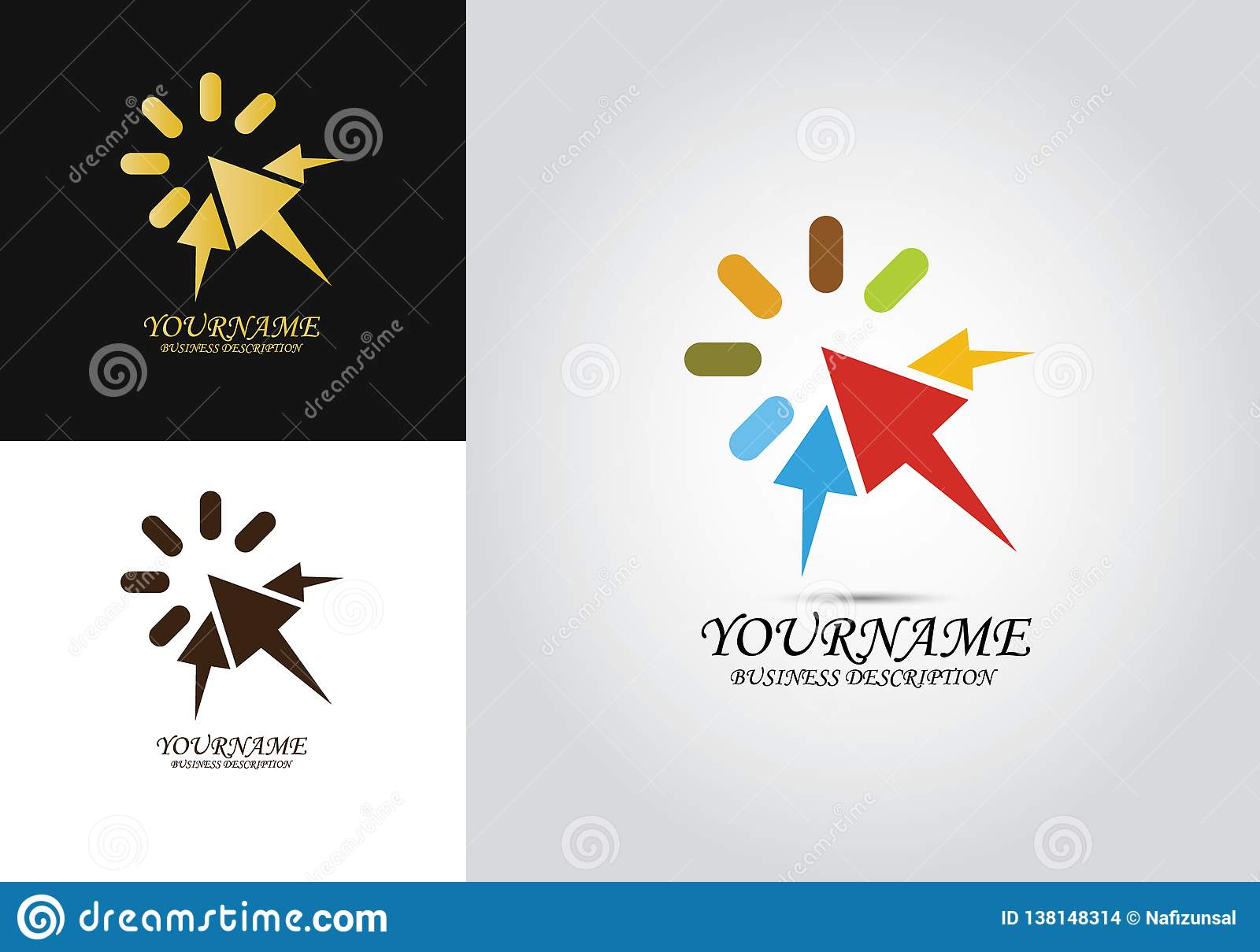 Logotipo del diseño de la flecha del tecleo