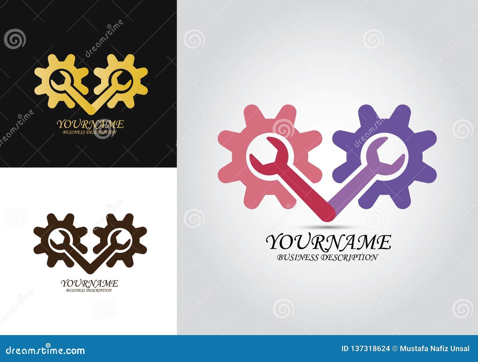 Logotipo del diseño de la reparación del engranaje