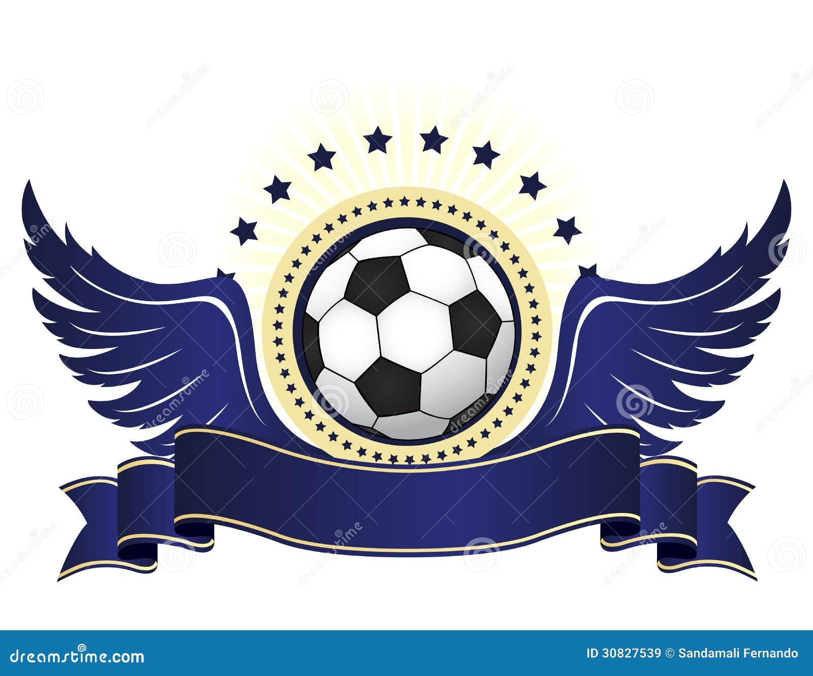 e56aa6a52d9e7 Logotipo Del Fútbol Con La Cinta Y Las Alas Stock de ilustración ...