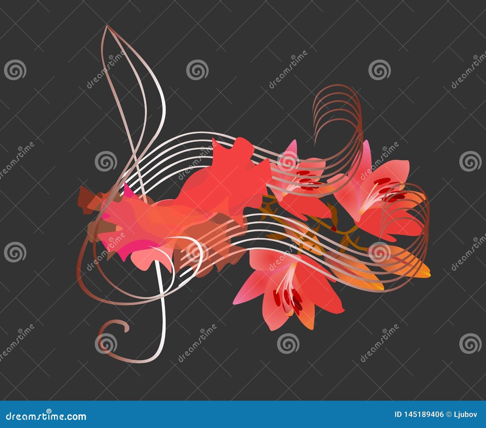 Logotipo del flamenco Clave de sol, pedazo de lujo de tela roja y notas musicales en la forma de las flores de los lirios en fond