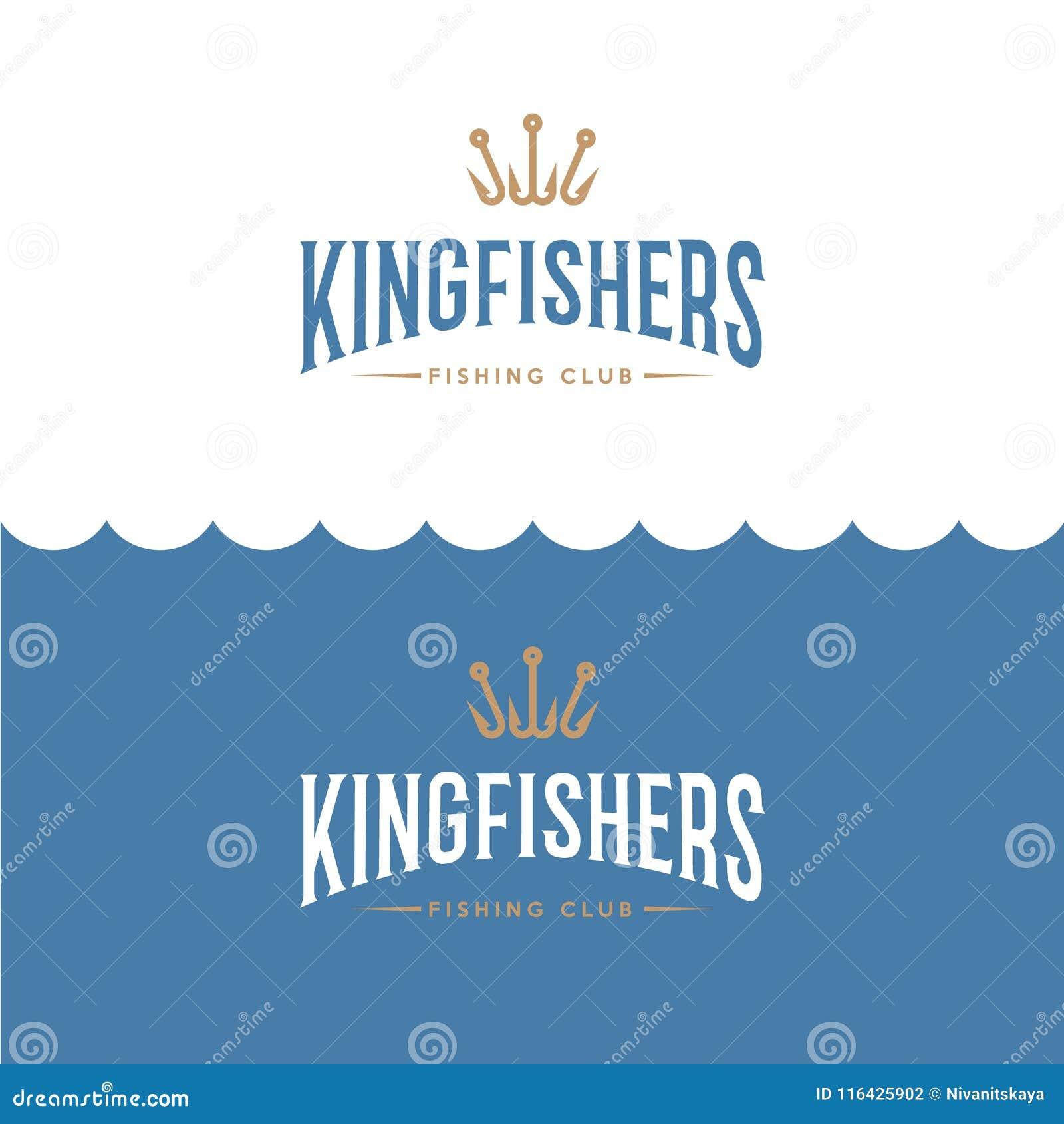 Logotipo del martín pescador Pescando o logotipo de la tienda del equipo de pesca Pescador Club del emblema