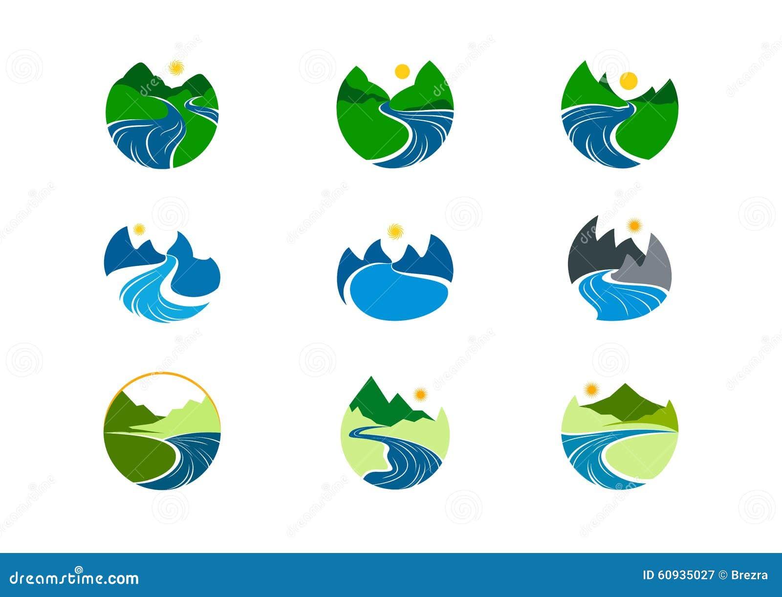 Logotipo del río, diseño del símbolo de la montaña de la naturaleza