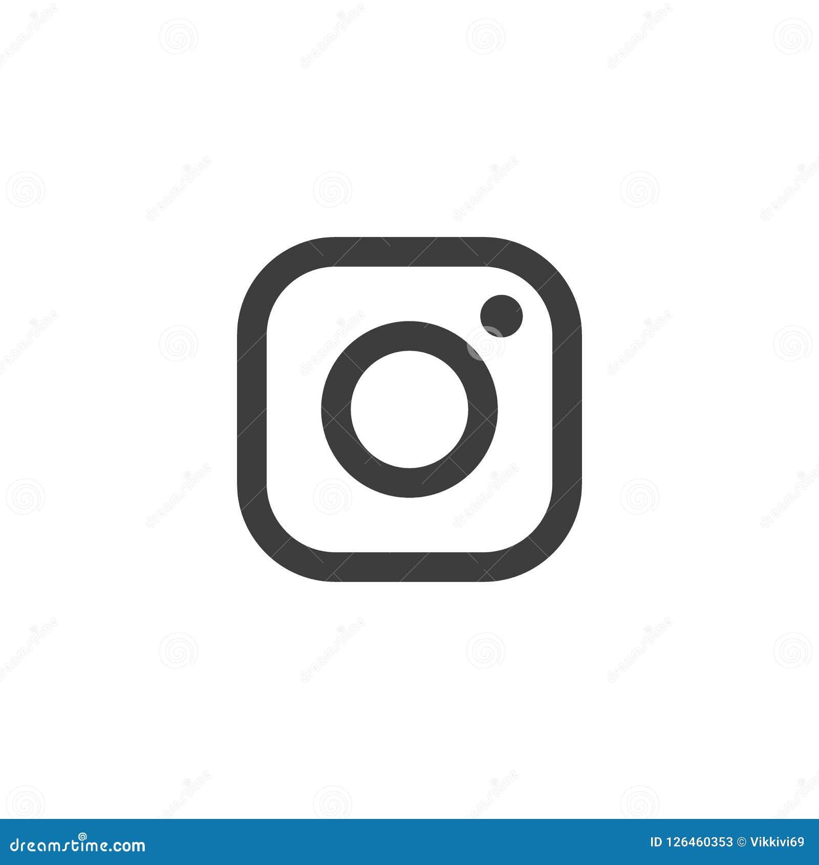 Logotipo del vector de Instagram Icono del pictograma para el diseño web, símbolo popular de las imágenes Icono del web de la cám