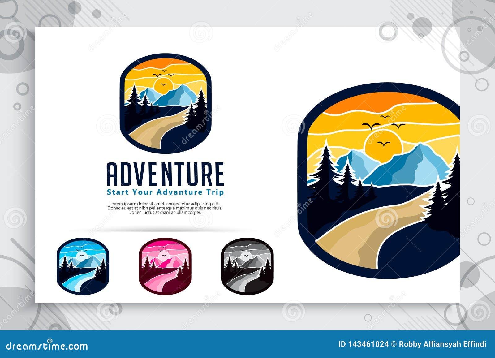 Logotipo del vector de la aventura de la montaña con diseño de concepto de la insignia Montaña del ejemplo de la plantilla como s