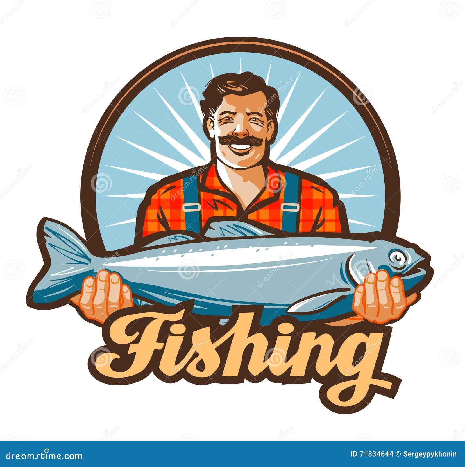 Logotipo del vector de la pesca pescador, icono de los pescados