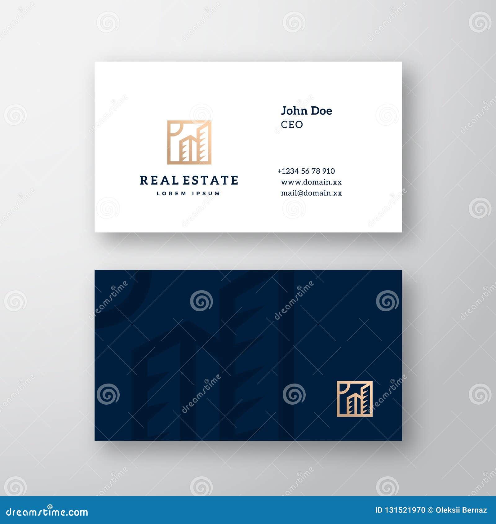Logotipo del vector de Real Estate y plantilla elegantes abstractos de la tarjeta de visita Mofa realista inmóvil superior para a