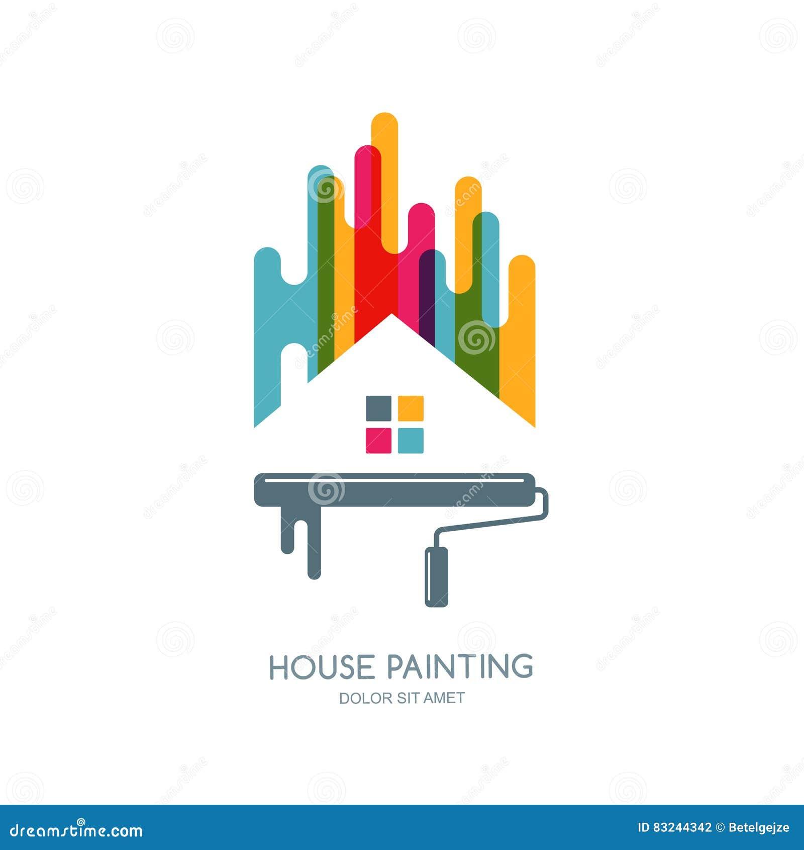 Logotipo del vector etiqueta o dise o del emblema for Painting decorating logos