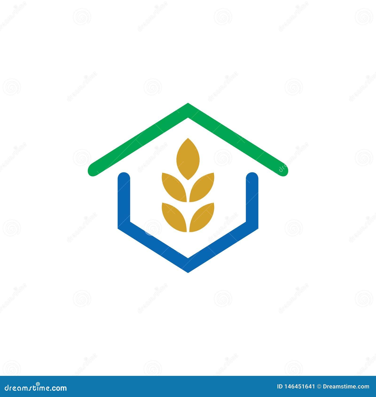 Logotipo del verde de la hoja del eco de la casa