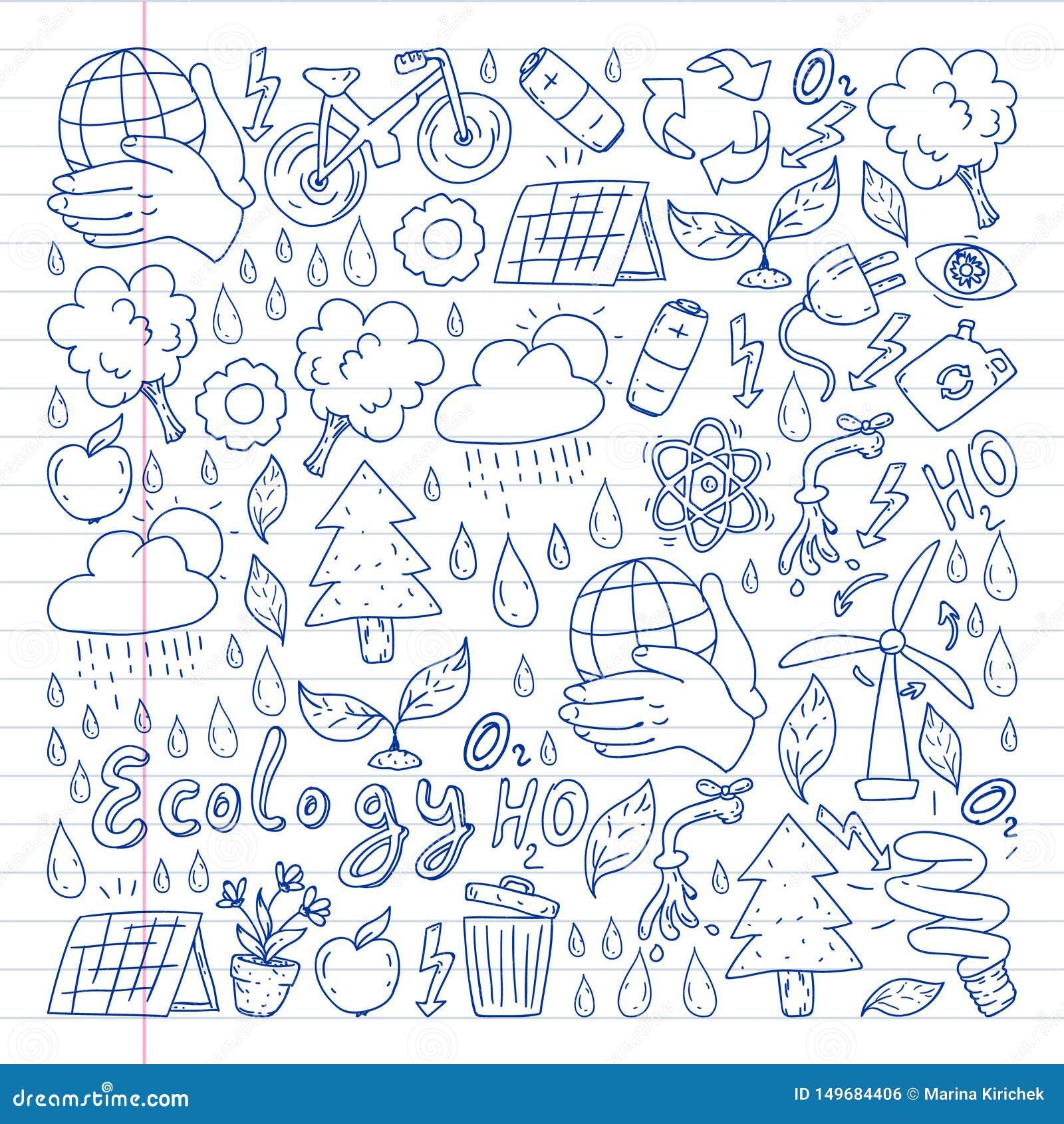 Logotipo, design e crachá do vetor no estilo de desenho da tendência - conceito de desperdício zero, reciclagem e reutilização, r
