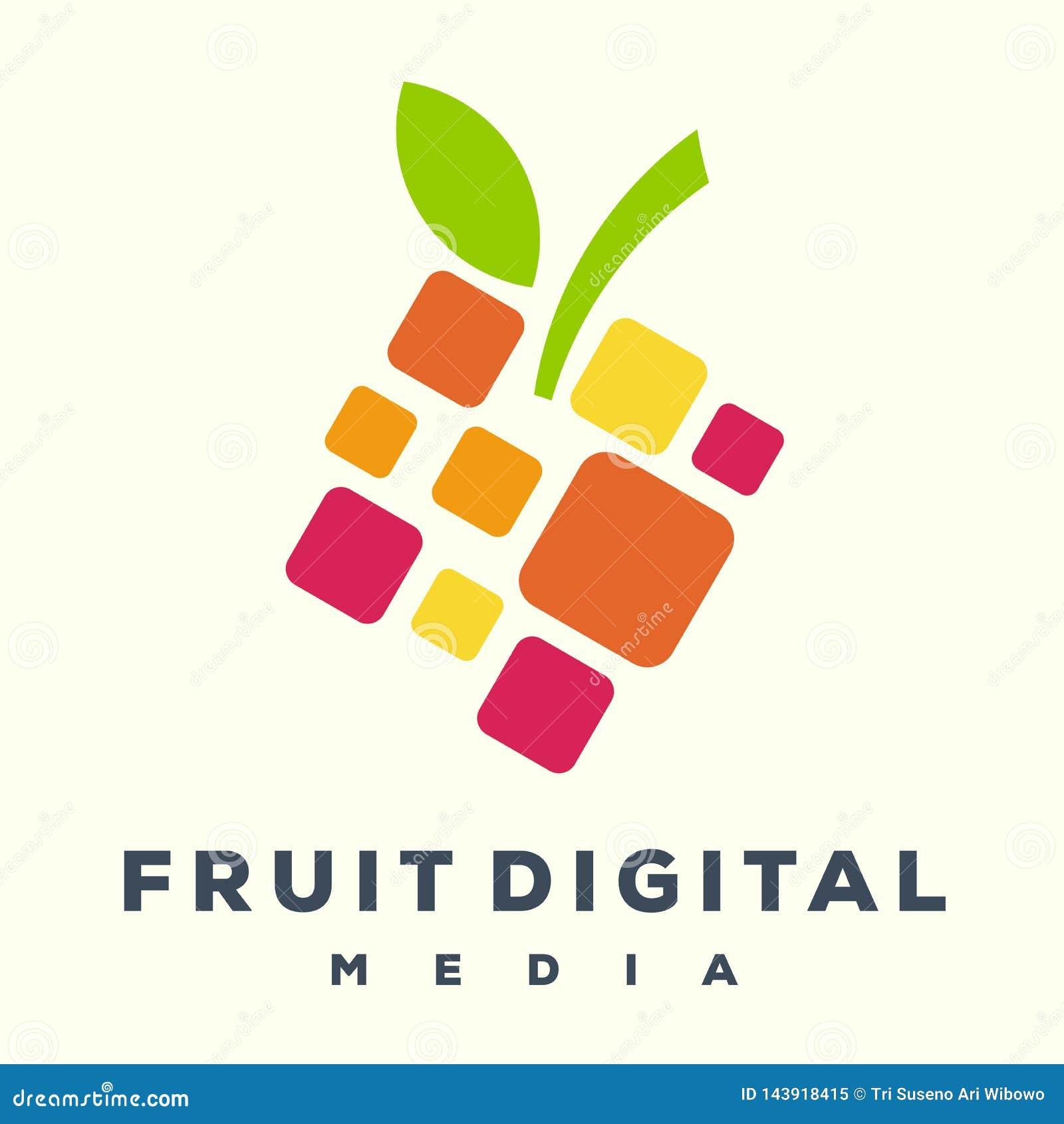 Logotipo digital de la fruta impresionante