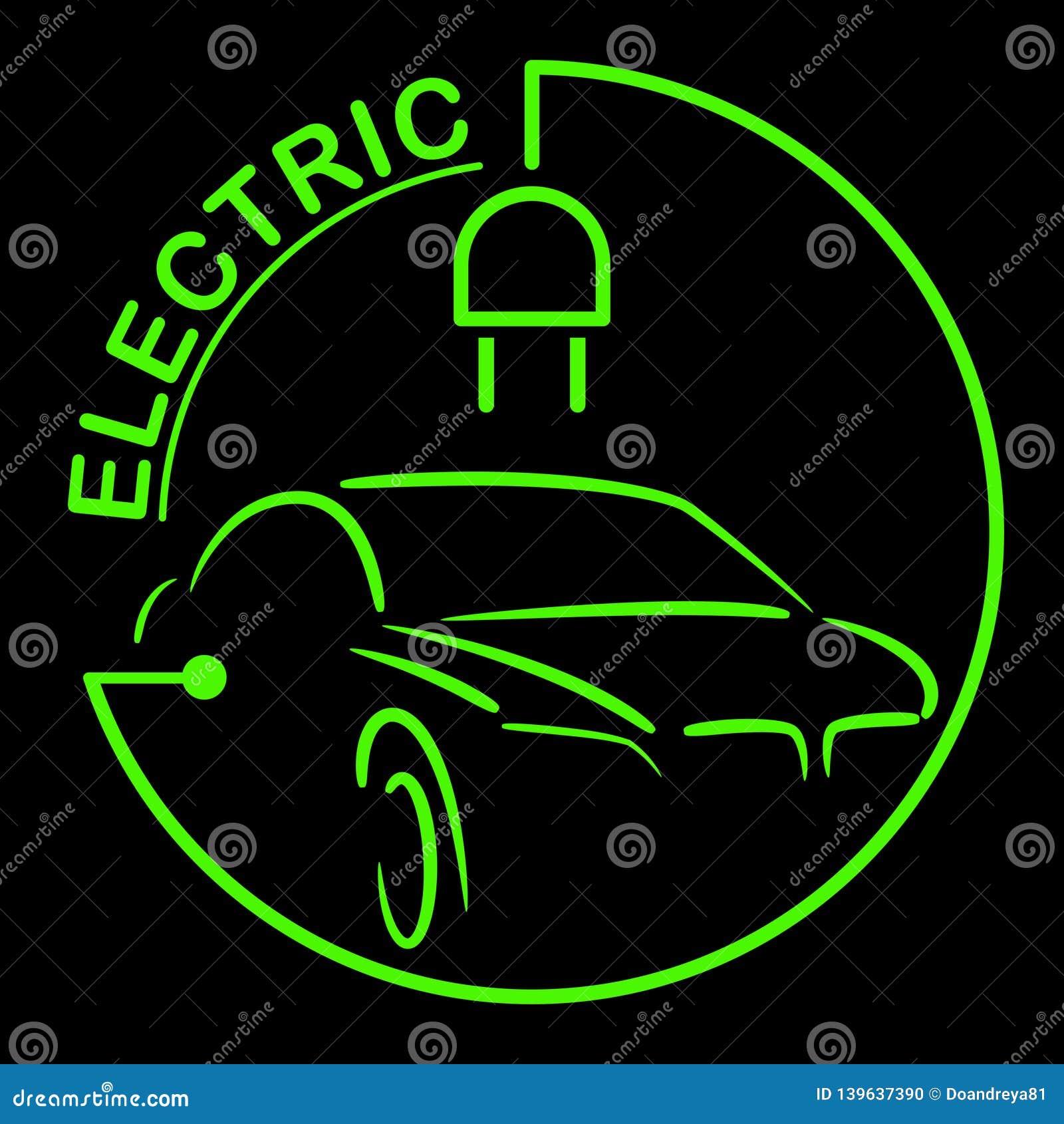 Logotipo do carro bonde Símbolo dos veículos de Eco Ícone ecológico do transporte Ilustração do vetor