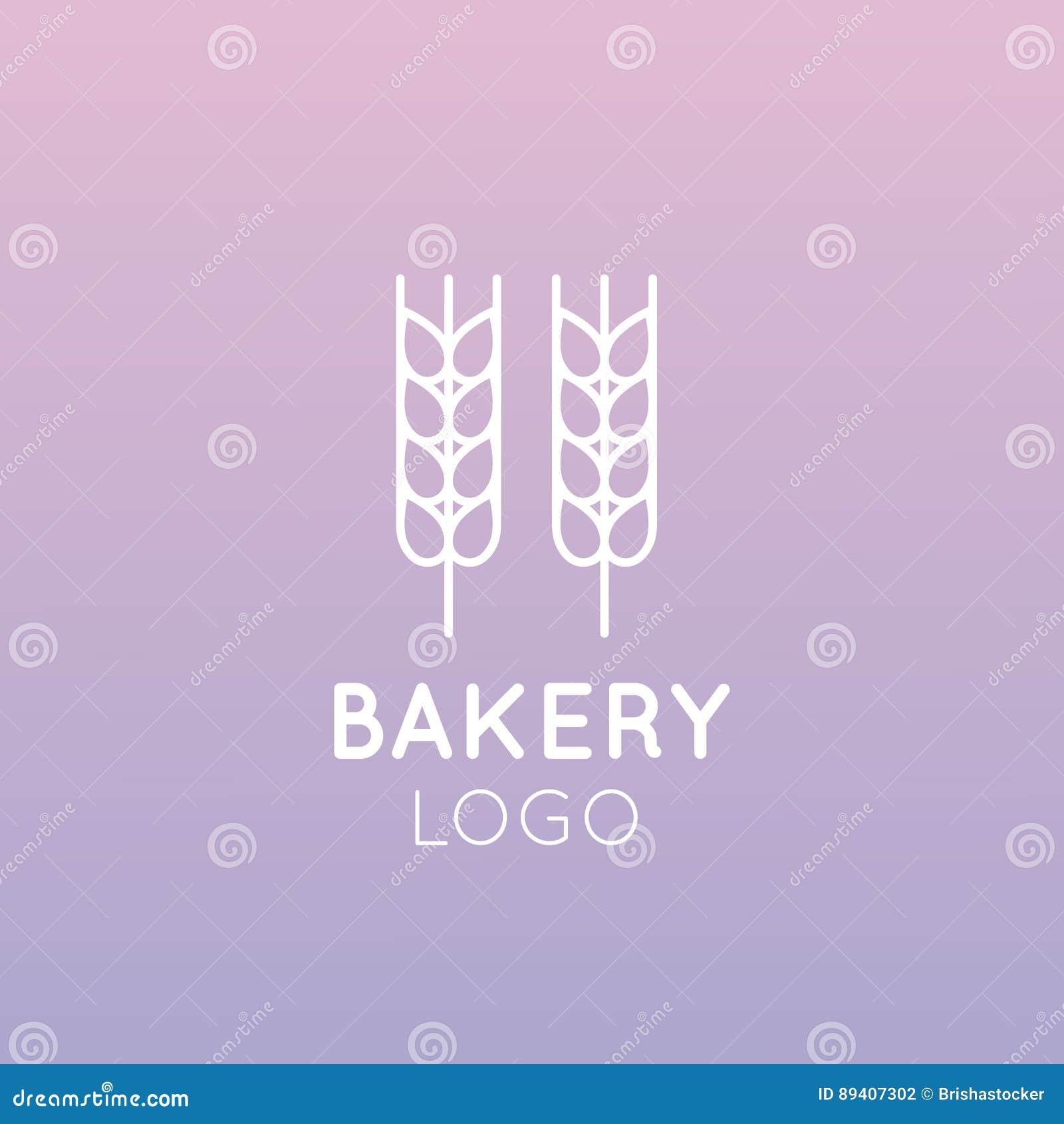 Logotipo do conceito da padaria, do moinho, do produto do pão, da loja ou do mercado, símbolos para a Web e móvel isolados, ponto
