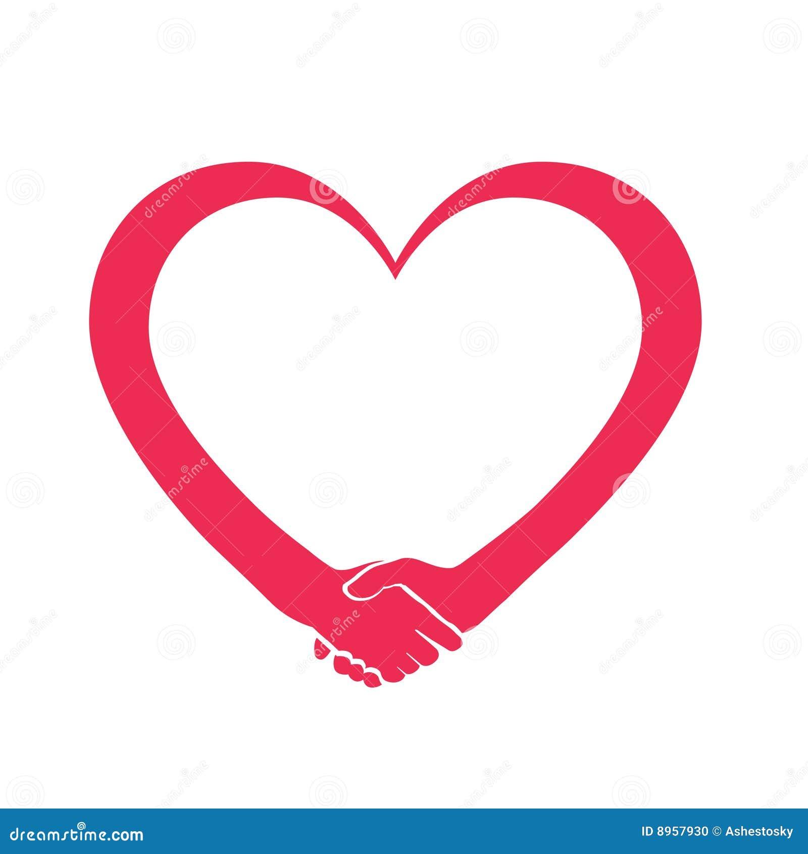 Logotipo do coração do amor e da cooperação