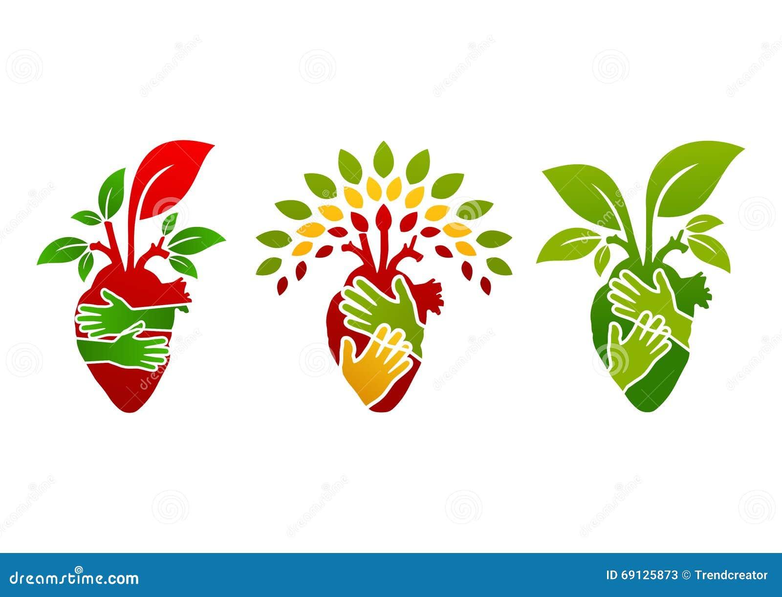 Logotipo do coração, símbolo dos povos da árvore, ícone da planta da natureza e projeto de conceito saudável do coração