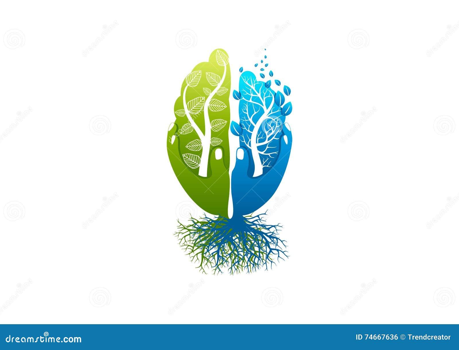 Logotipo do cuidado do cérebro, ícone saudável da psicologia, símbolo de alzheimer, projeto de conceito da mente da natureza