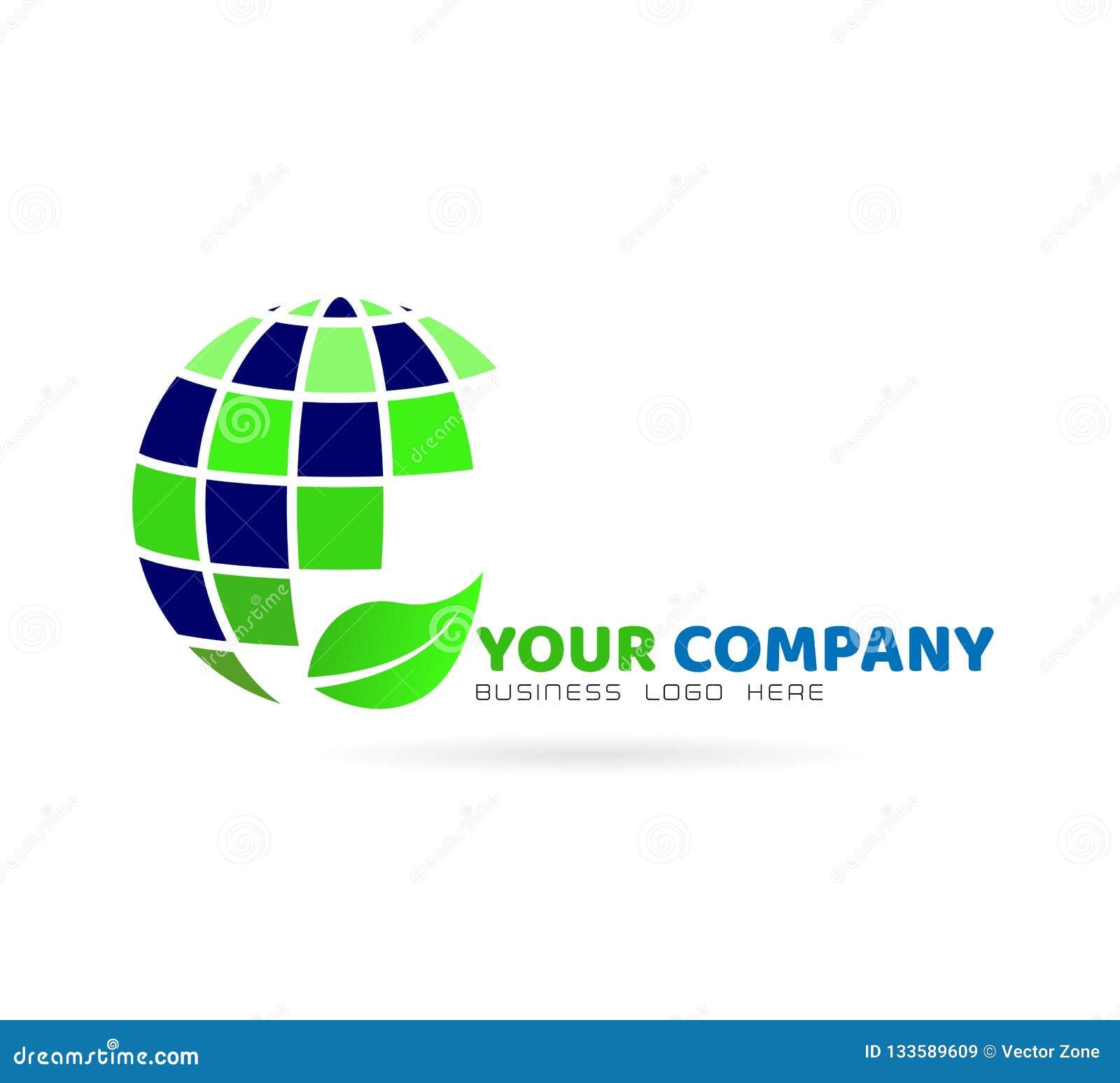 Logotipo do globo com folha, elemento do ícone no fundo branco