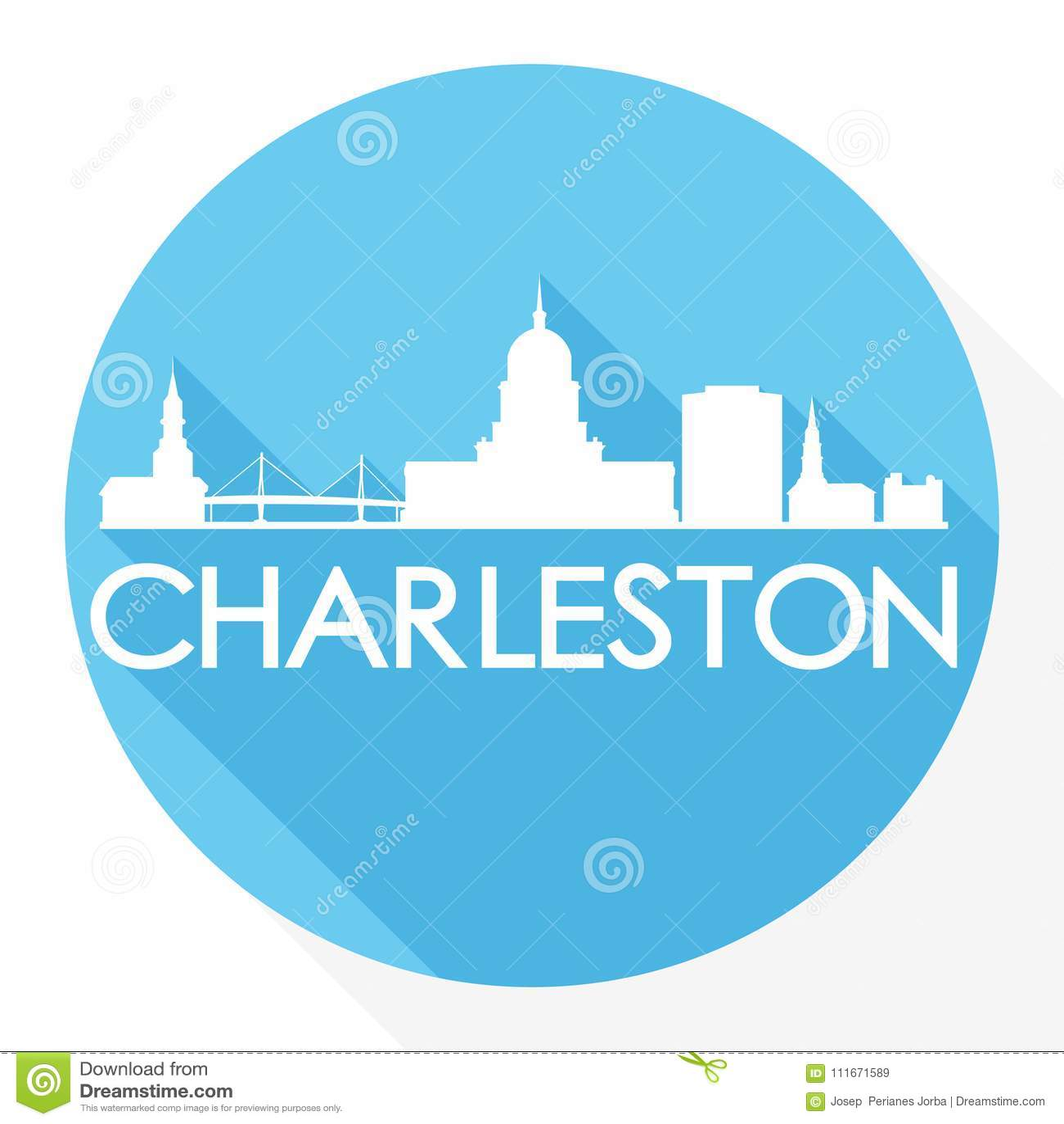 Logotipo do molde da silhueta da cidade de Art Flat Shadow Design Skyline do vetor de Charleston South Carolina Round Icon