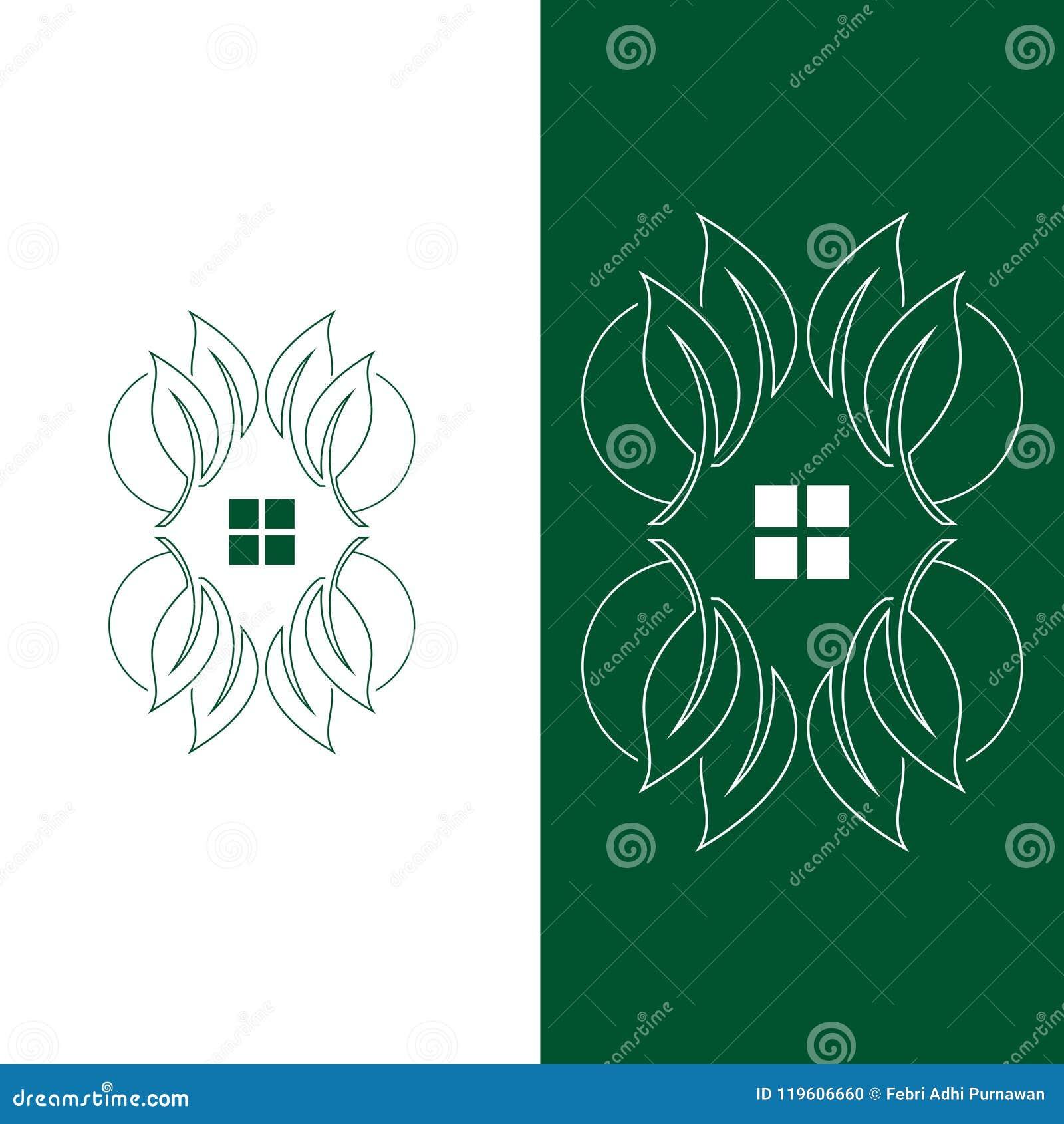 Logotipo do molde do símbolo das casas na árvore