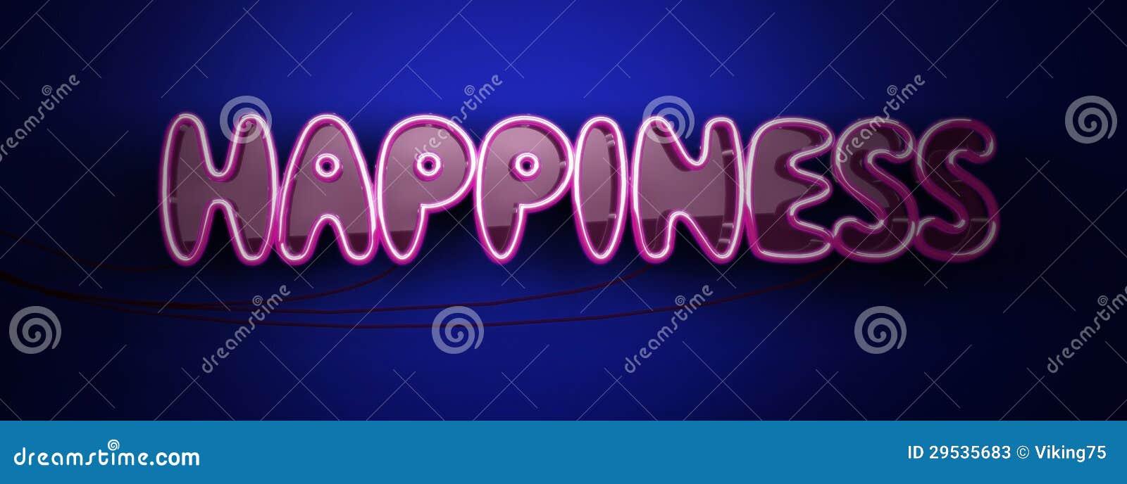 Logotipo do néon da felicidade