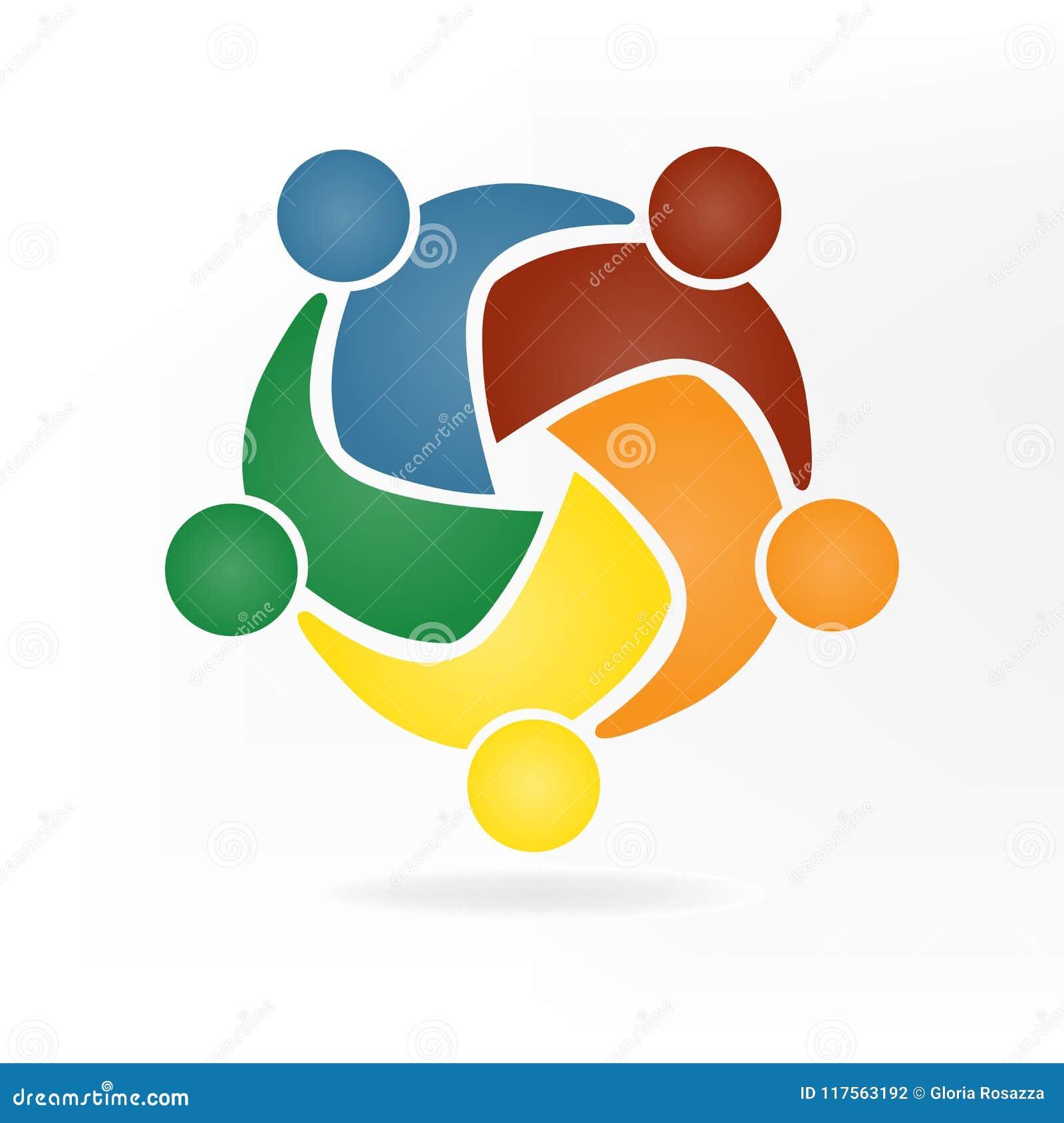Logotipo do negócio dos trabalhos de equipa Conceito da solidariedade dos objetivos da união da comunidade