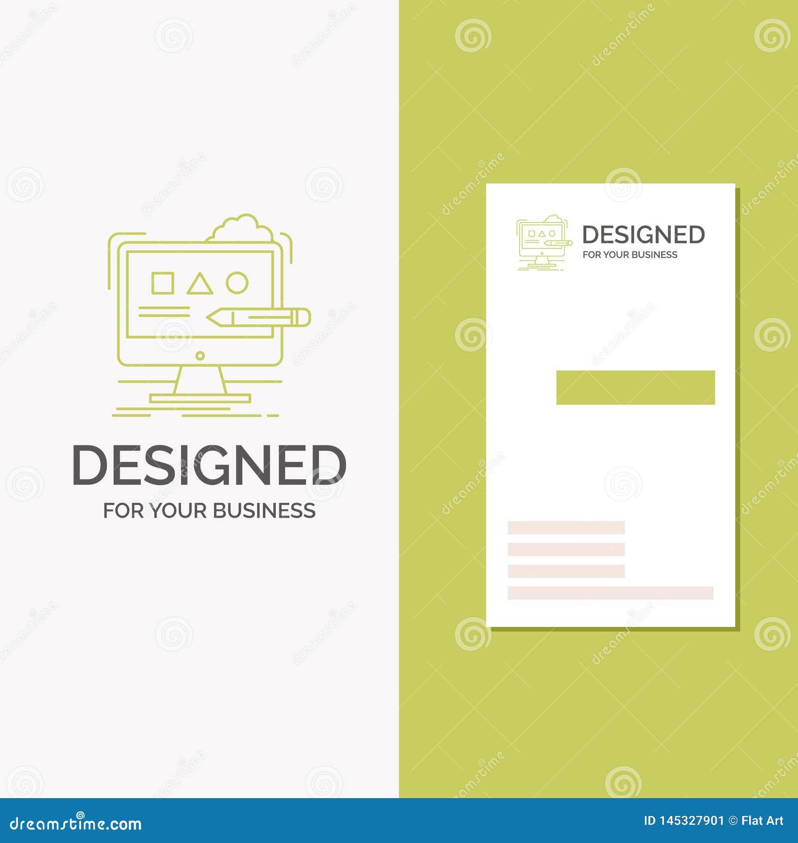 Logotipo do negócio para a arte, computador, projeto, digital, estúdio Molde verde vertical do cart?o do neg?cio/de visita Fundo