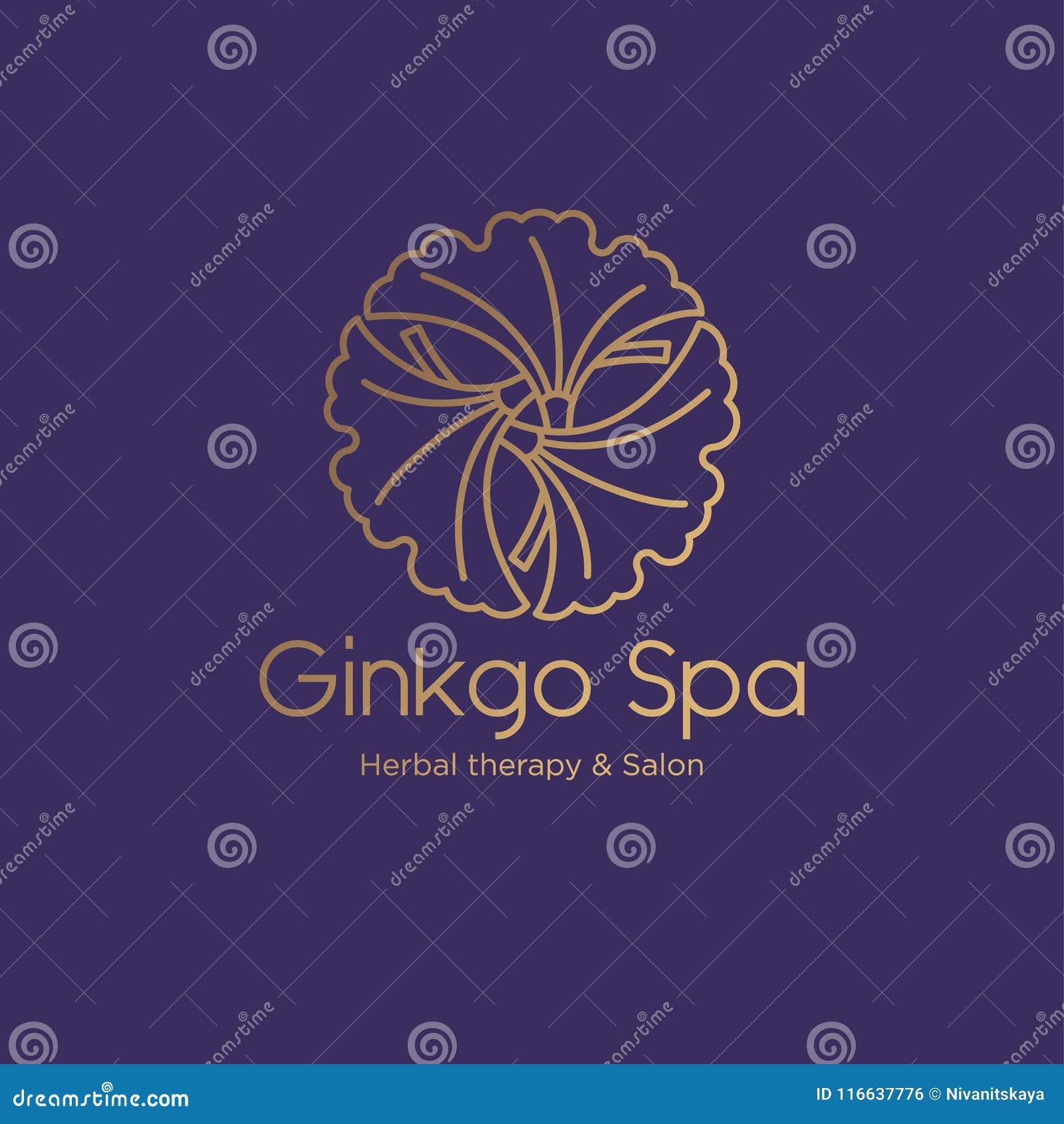 Logotipo do salão de beleza dos termas da nogueira-do-Japão Emblema dos termas Folhas da nogueira-do-Japão em um círculo com letr