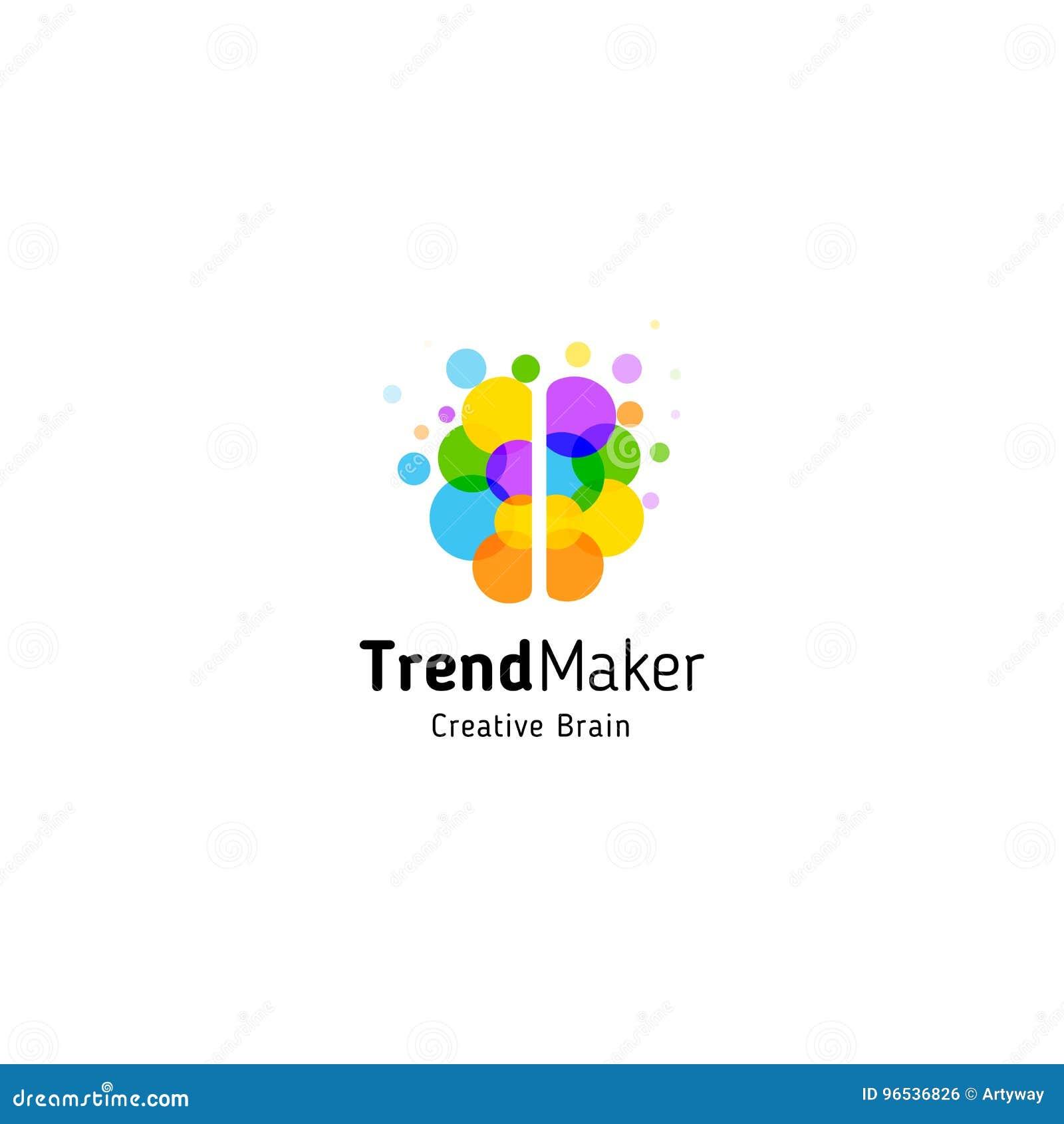 Logotipo do vetor do sumário do fabricante da tendência Forma colorida isolada do cérebro das bolhas dos círculos Mente criativa