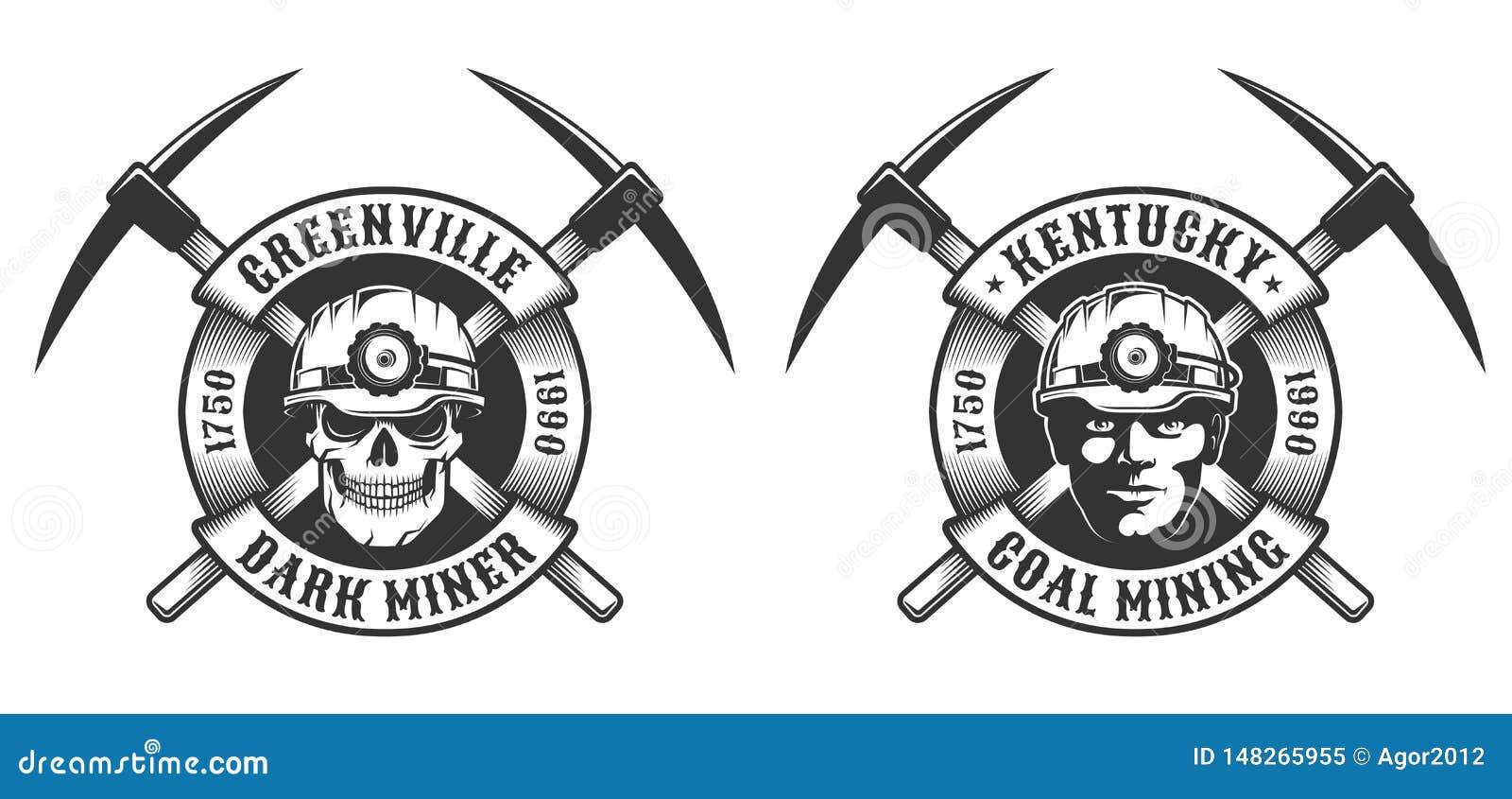Logotipo do vintage do mineiro de carvão