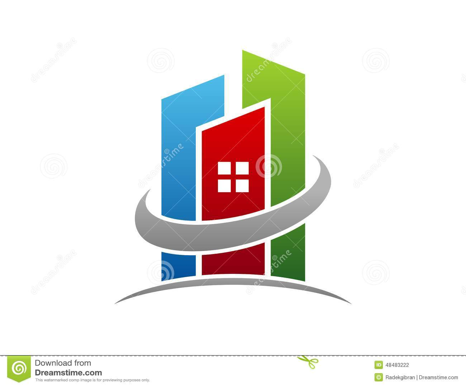 Logotipo dos bens imobiliários, ícone do símbolo do apartamento da construção do círculo