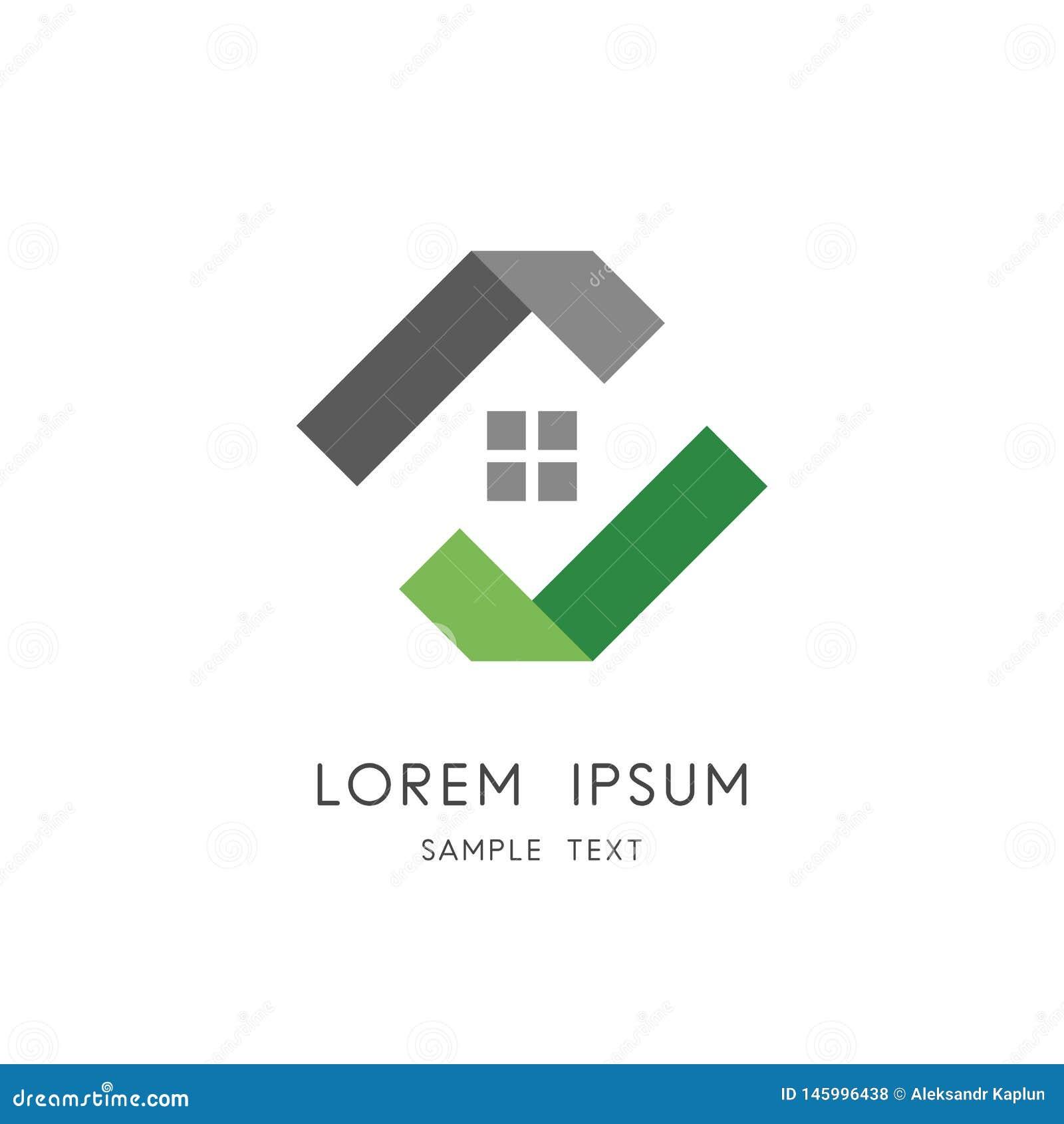 Logotipo dos bens imobiliários - casa ou casa com janela e sinal