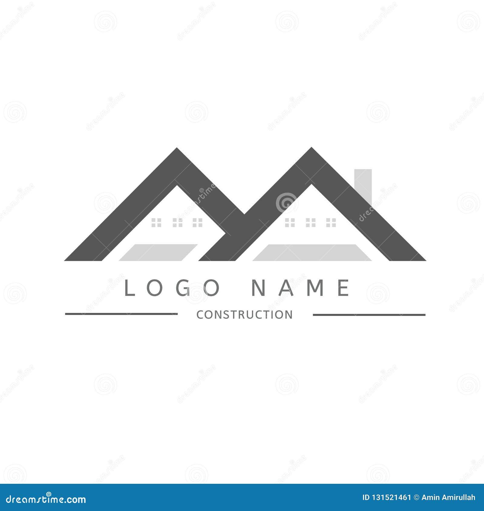 Logotipo dos bens imobiliários para o compani da construção