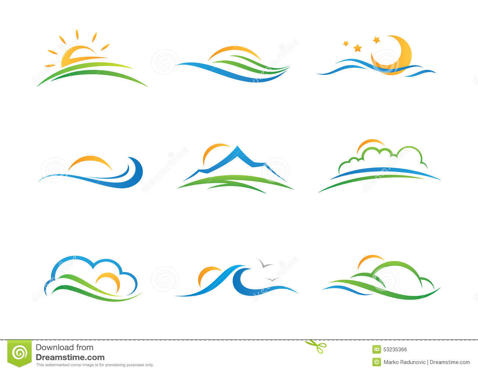 Logotipo e ícone da paisagem