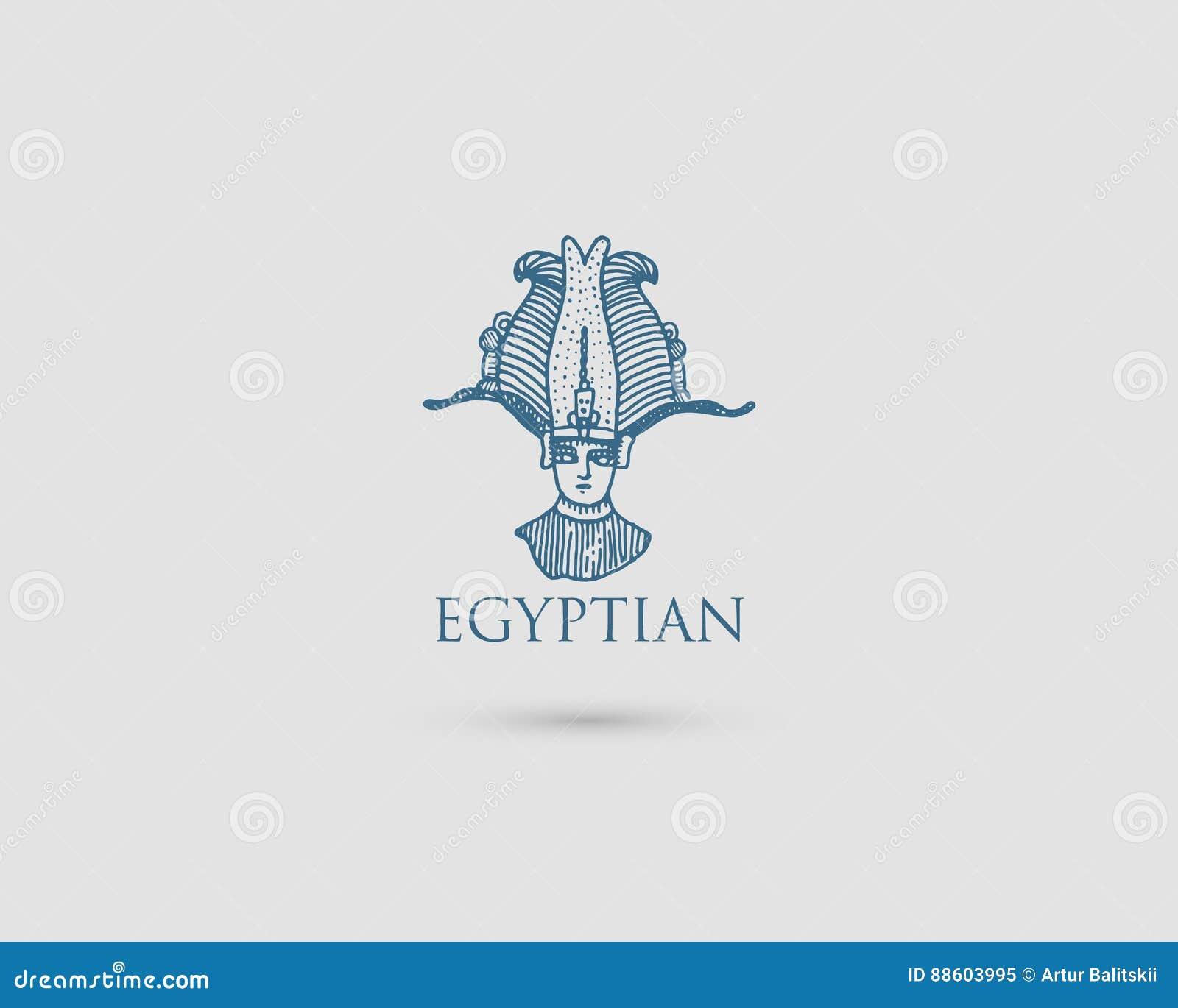 Logotipo egipcio con el símbolo Pharaon Osiris del vintage antiguo de la civilización, de la mano grabada dibujada en bosquejo o