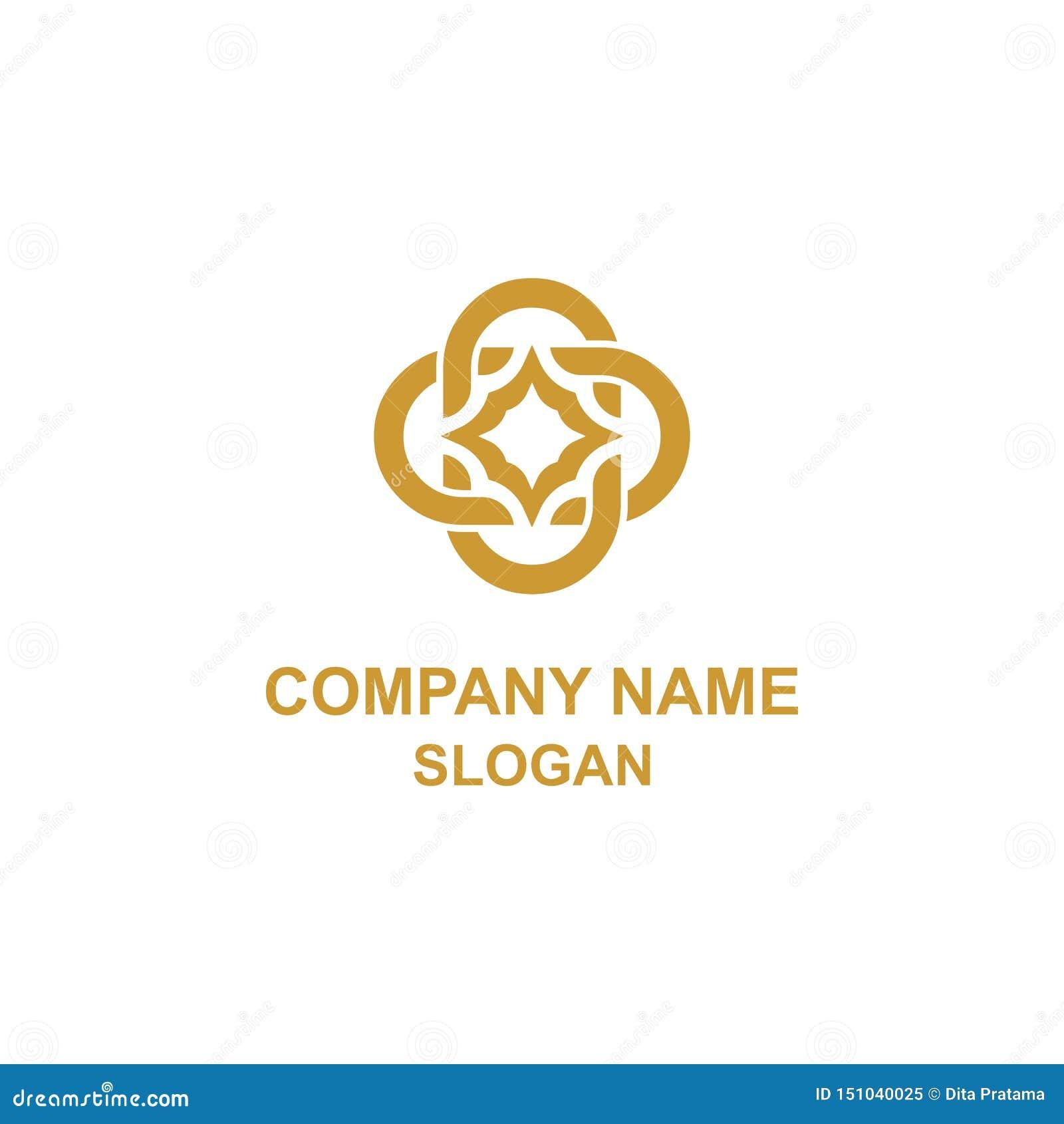 Logotipo elegante da inicial do ornamento da letra de C