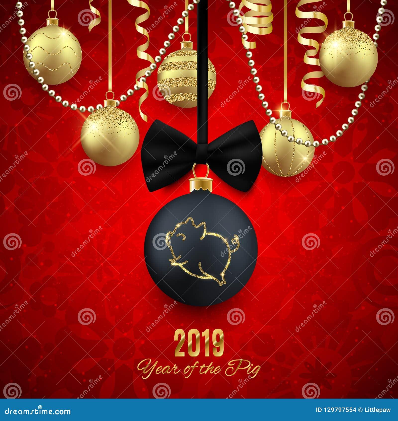 Logotipo en bola decorativa de la Navidad, ji 2019 del Año Nuevo del brillo del cerdo