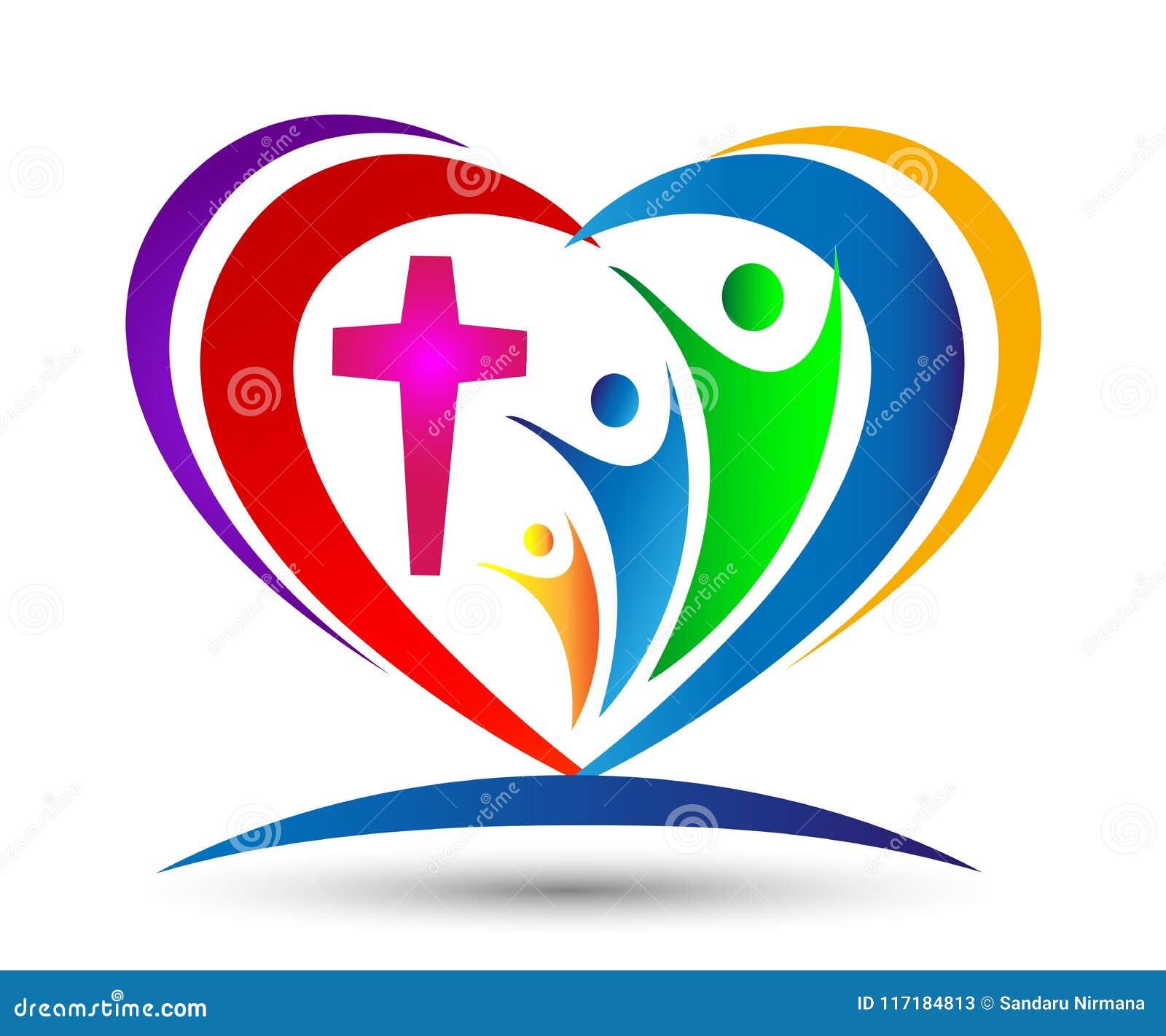 Logotipo en forma de corazón de la unión del amor de la iglesia de la familia