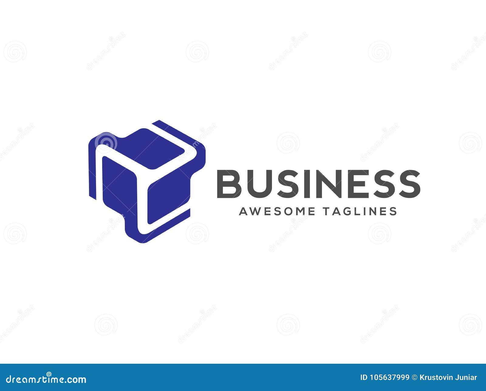 Logotipo estilizado de la tecnología del cubo 3d del extracto