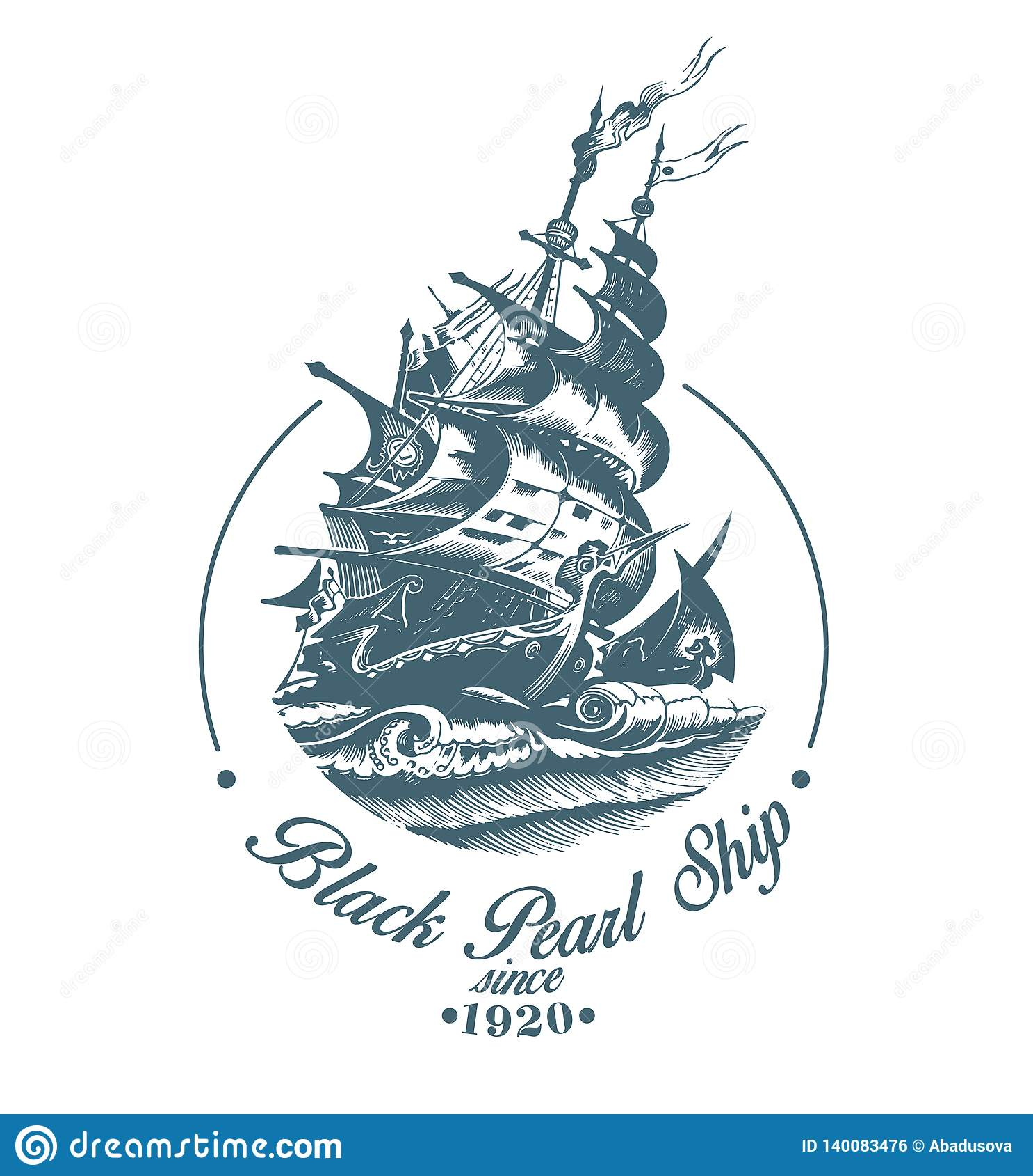 Logotipo exhausto del vector de la mano del velero del vintage en el mar