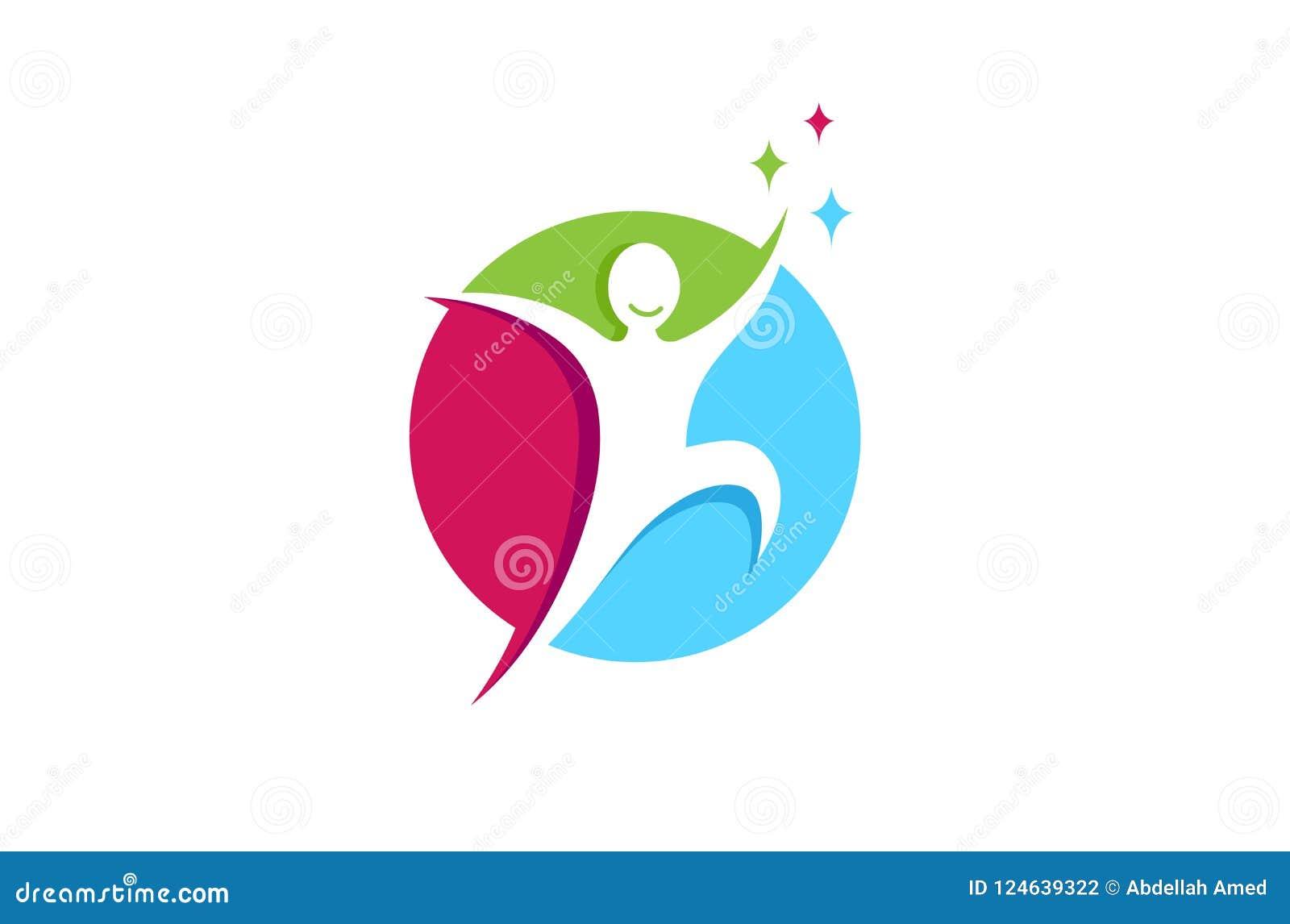 Logotipo feliz de salto criativo de Person Freedom Metaphor Gift Hope