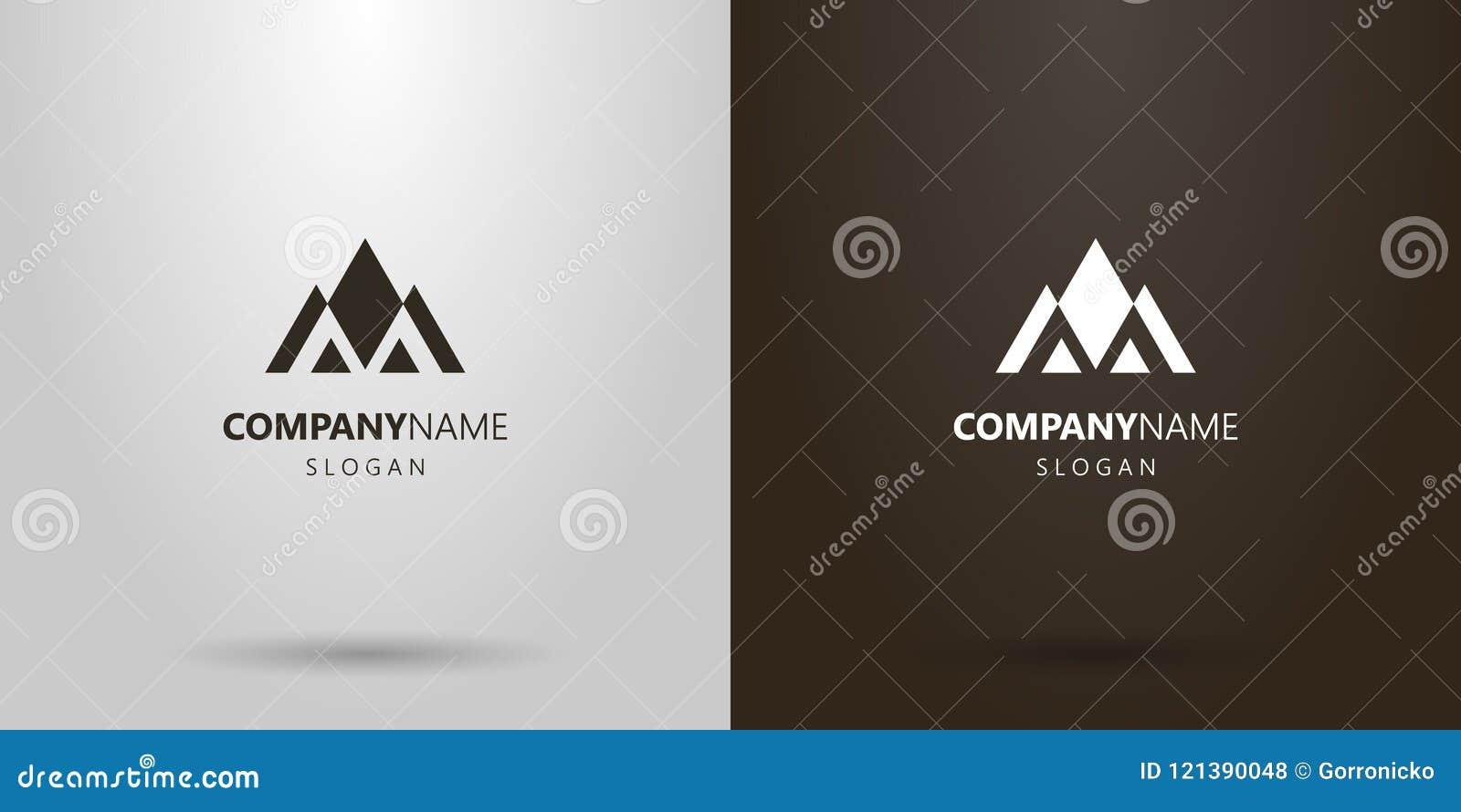 Logotipo geométrico del vector simple de un paisaje de la montaña de figuras triangulares