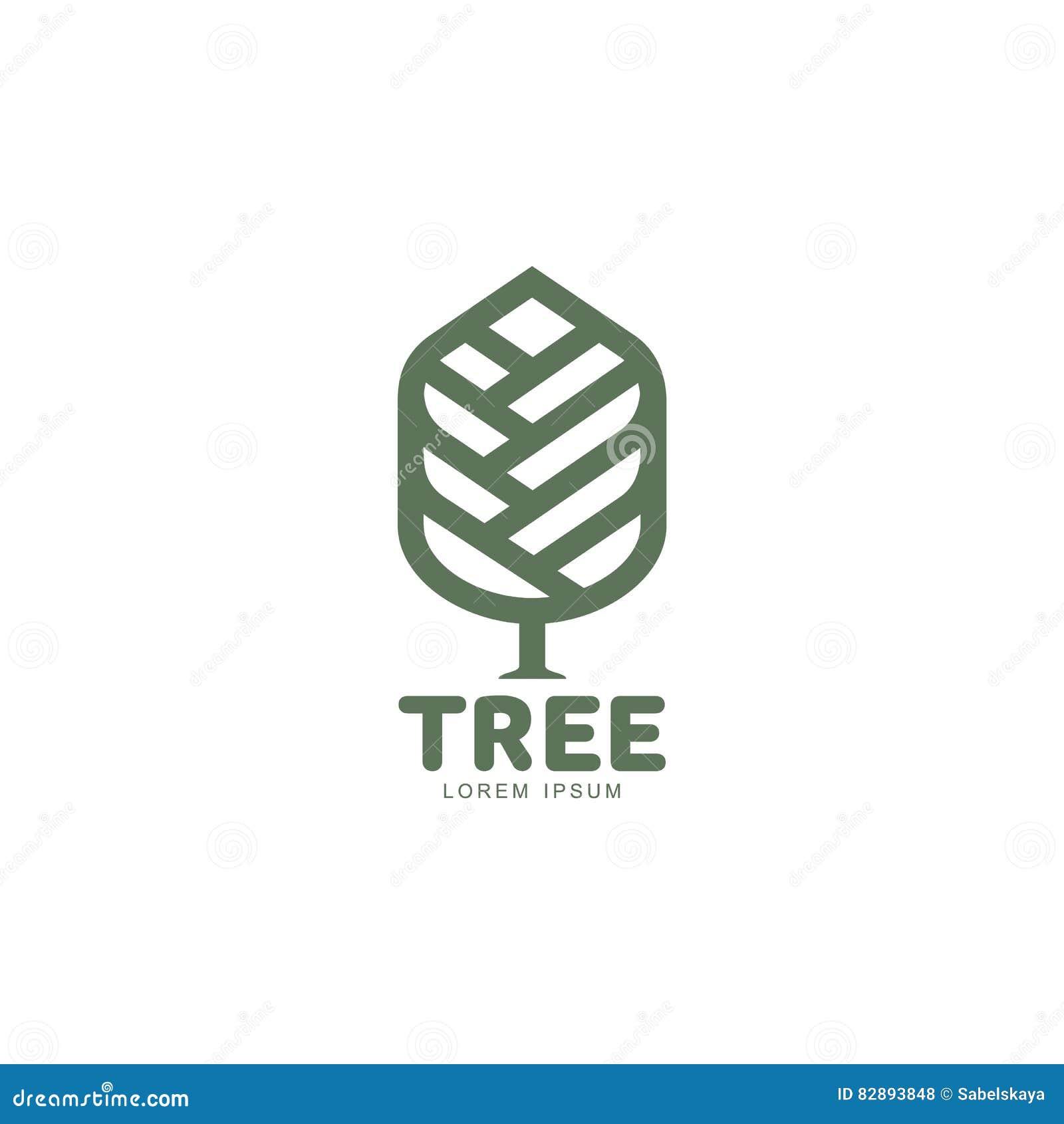 Logotipo gráfico extendido del árbol con las hojas estilizadas que crecen de centro