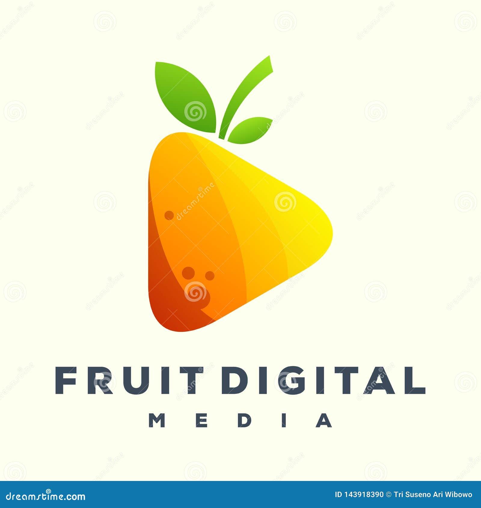 Logotipo impresionante de los medios de la fruta del juego