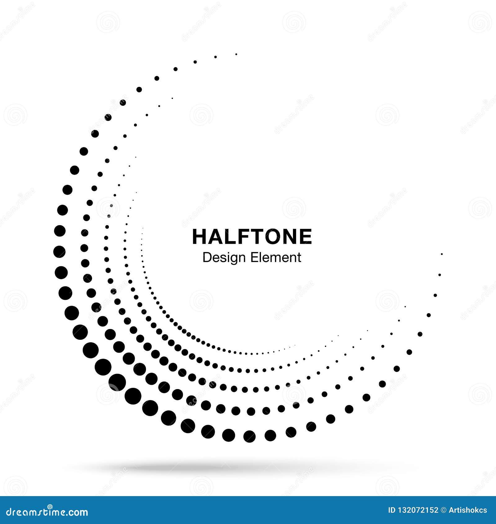 Logotipo incompleto de semitono de los puntos del marco del círculo Icono de la frontera el en semi-círculo usando la textura de
