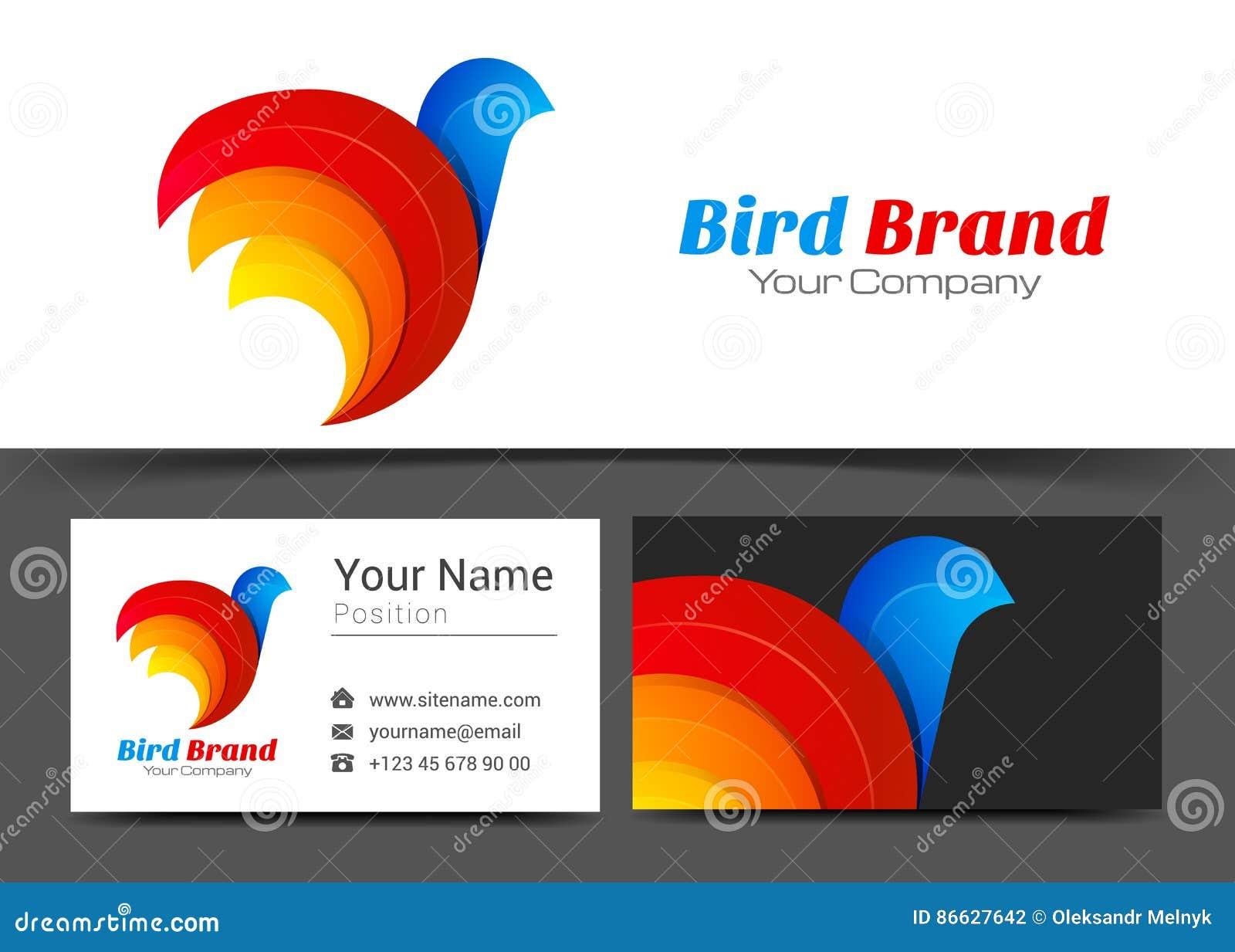 Logotipo incorporado estilizado do pássaro e molde do sinal do cartão