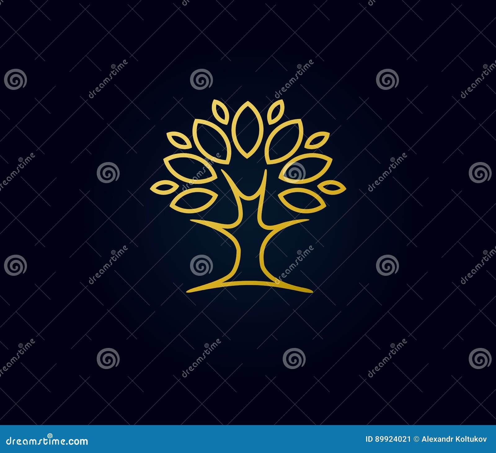 Logotipo linear da árvore do ouro