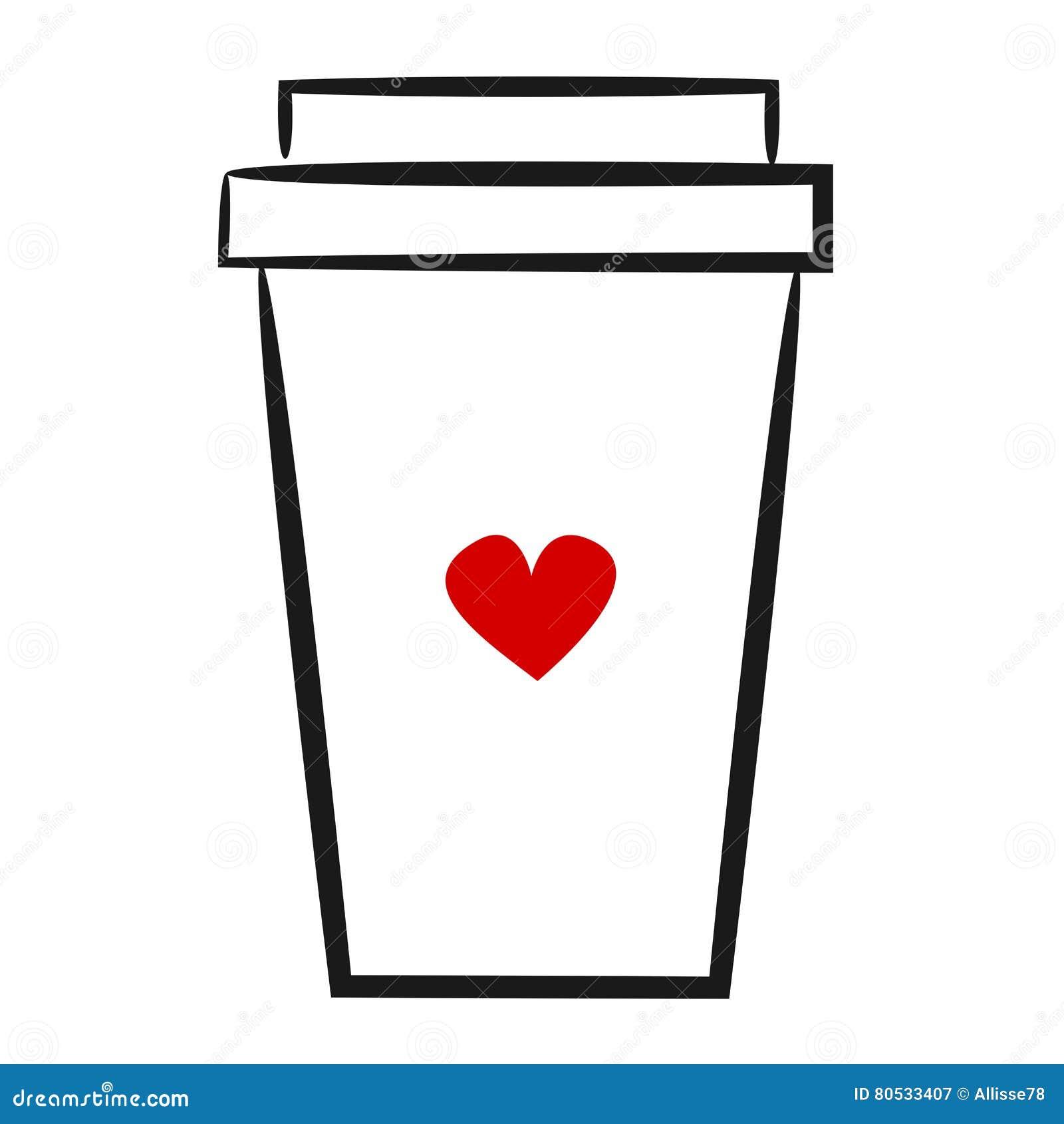 Logotipo linear dibujado mano linda de la taza de papel del café del ejemplo