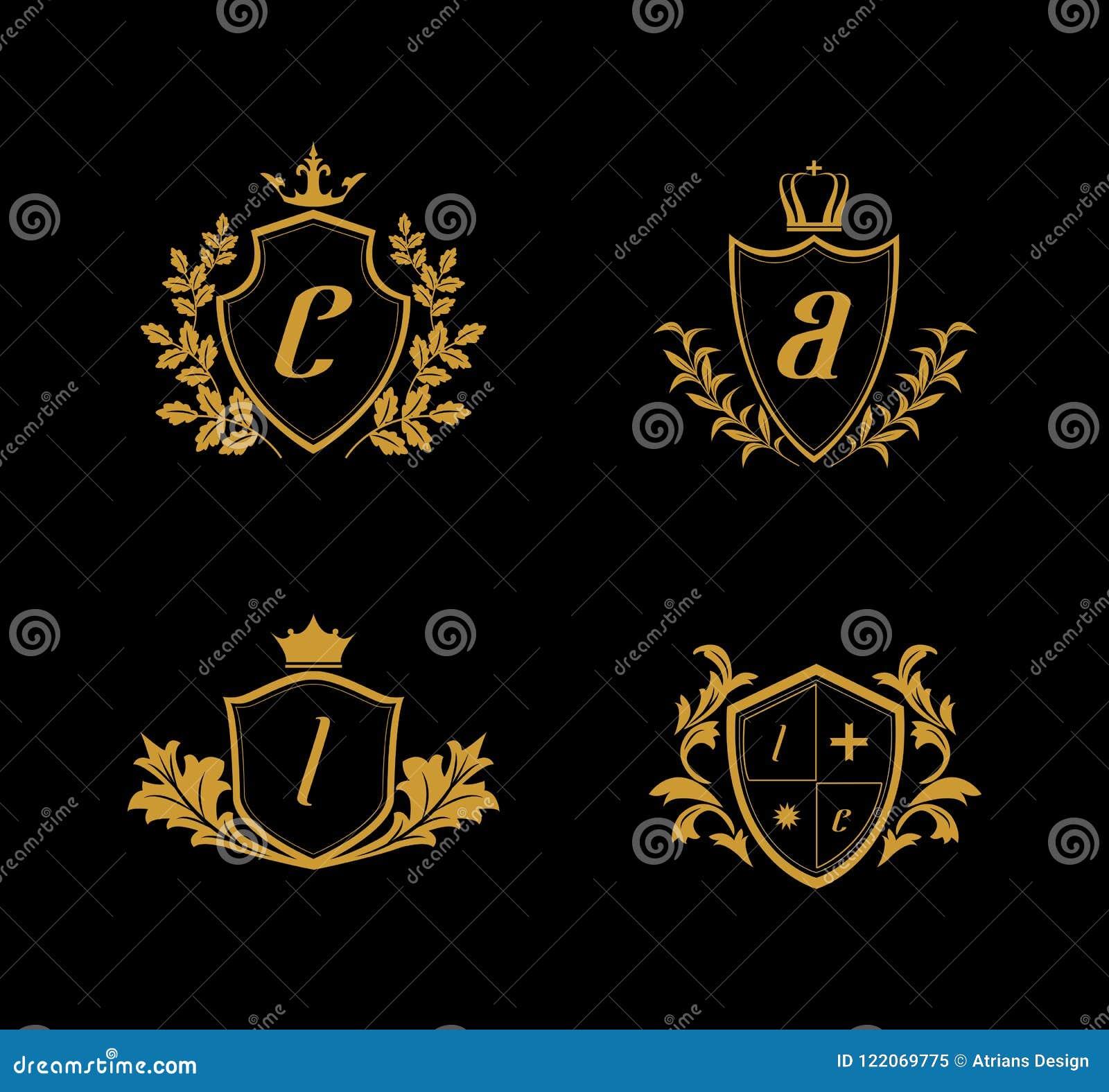 Logotipo luxuoso da crista, logotipo dourado da crista, logotipo do reino