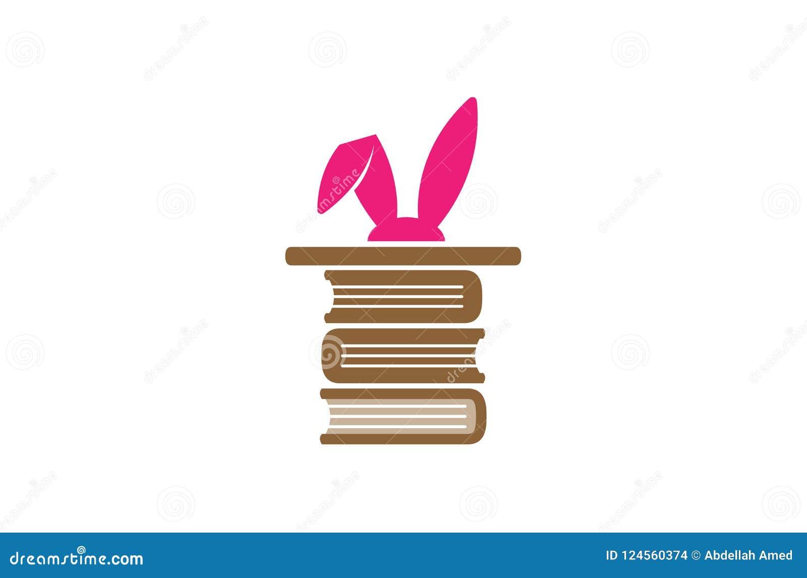 Logotipo mágico criativo da biblioteca das orelhas de coelho