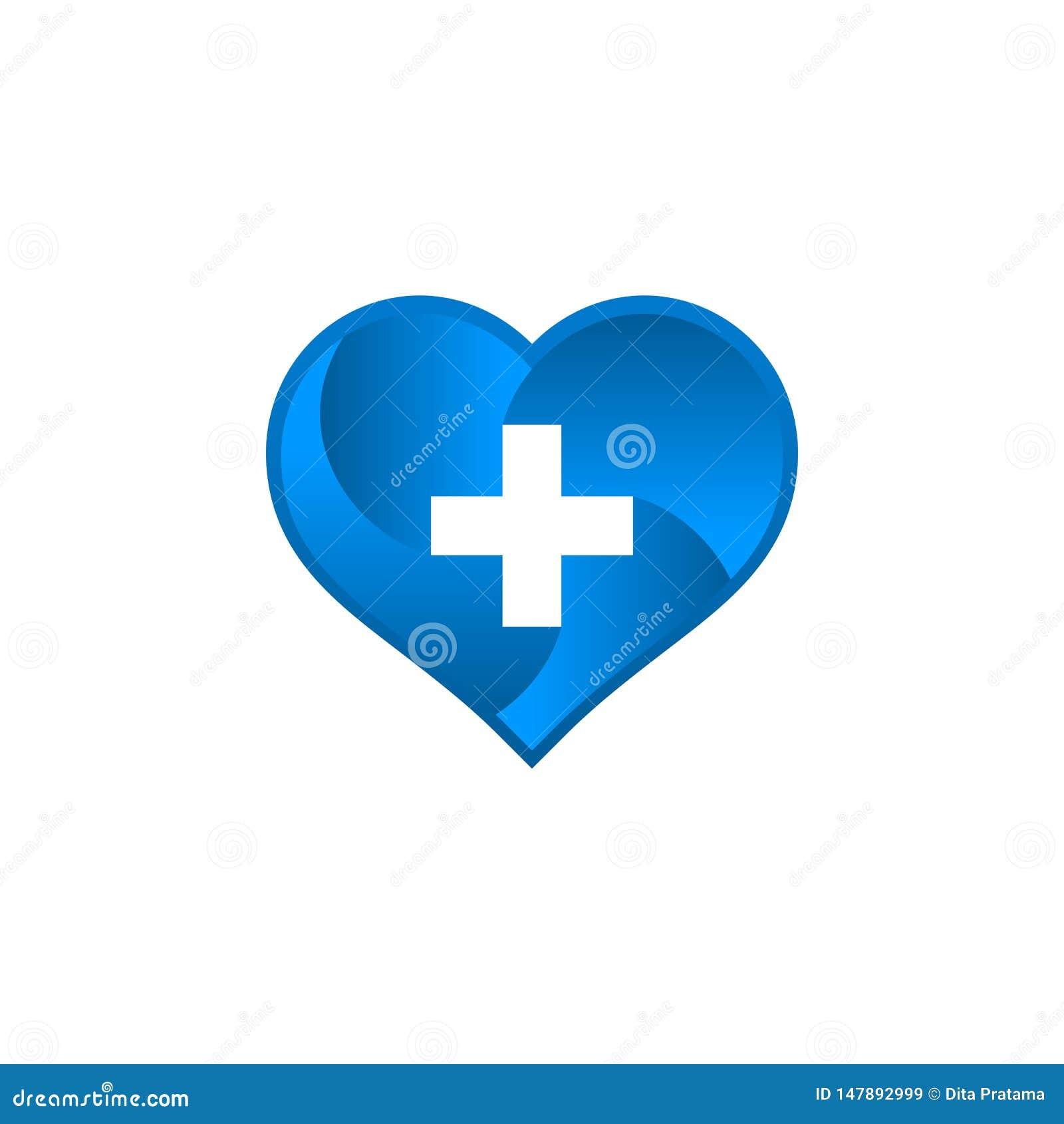 Logotipo médico con forma del amor